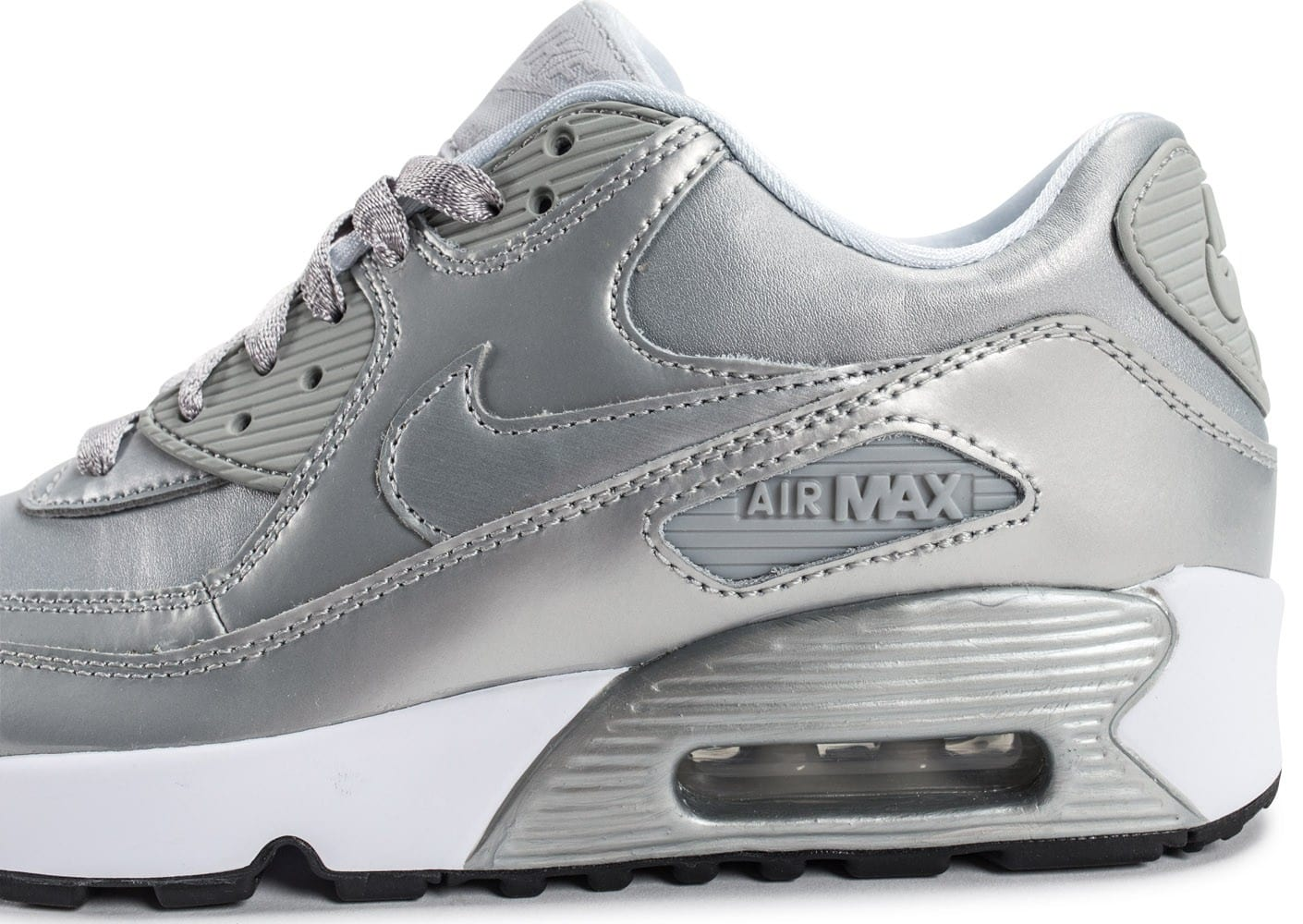san francisco 3a61f 34e9d ... Chaussures Nike Air Max 90 SE Leather silver pack vue dessus