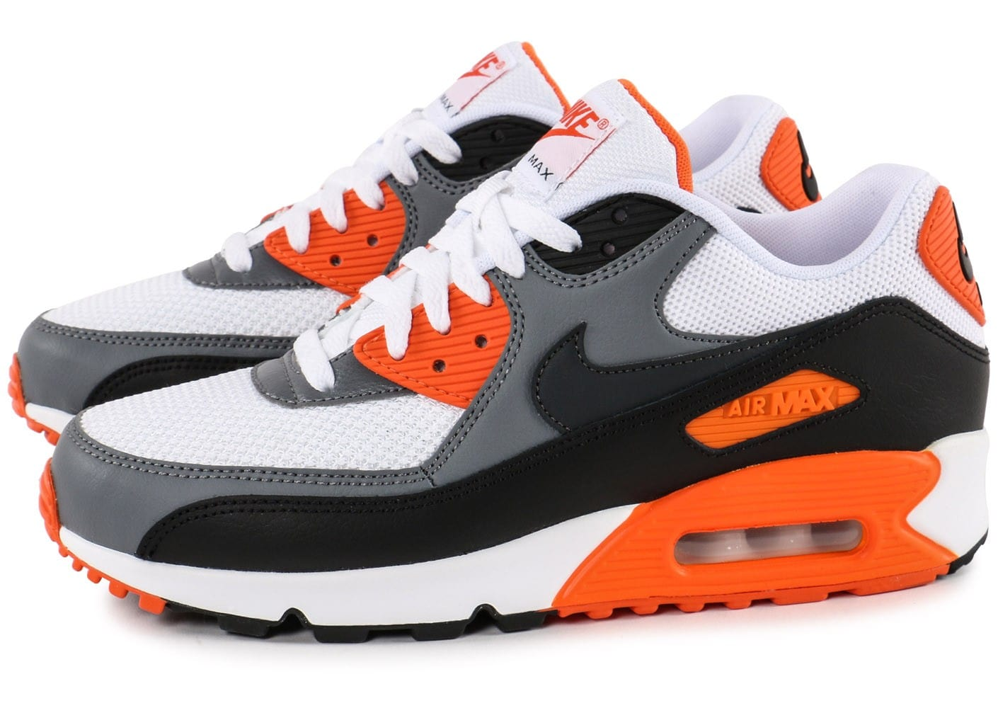meilleures baskets 91faa 732a0 Nike Air Max 90 Essential blanc orange - Chaussures Baskets ...