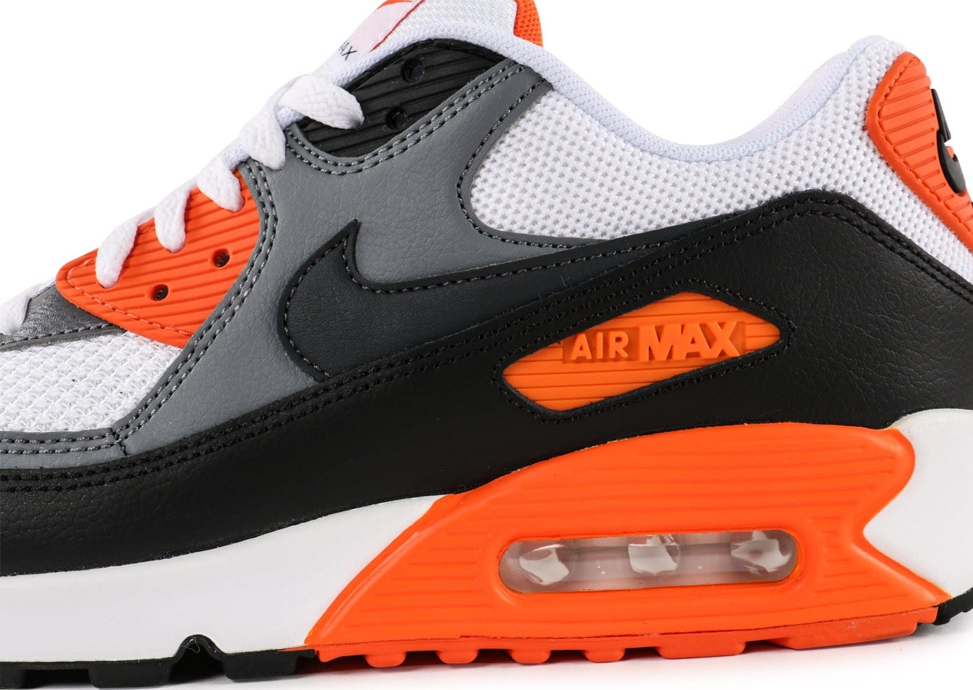 buy popular 9bd81 5bed0 ... Chaussures Nike Air Max 90 Essential blanc orange vue dessus