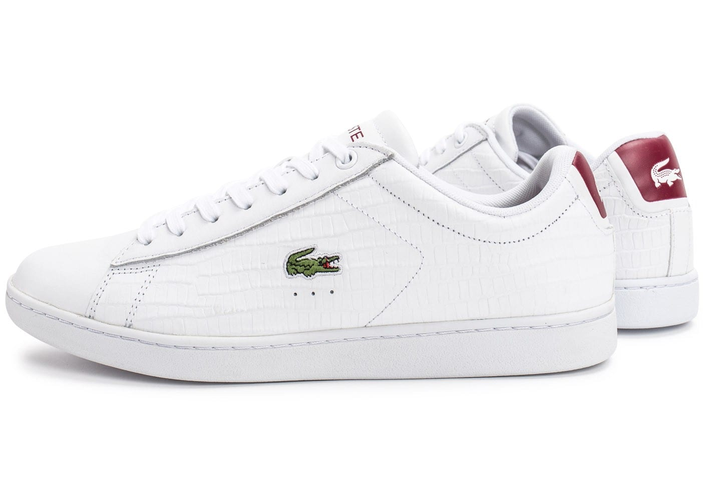 Blanche Croc Carnaby Baskets Evo Chaussures Lacoste Bordeaux Homme vwOmn0N8