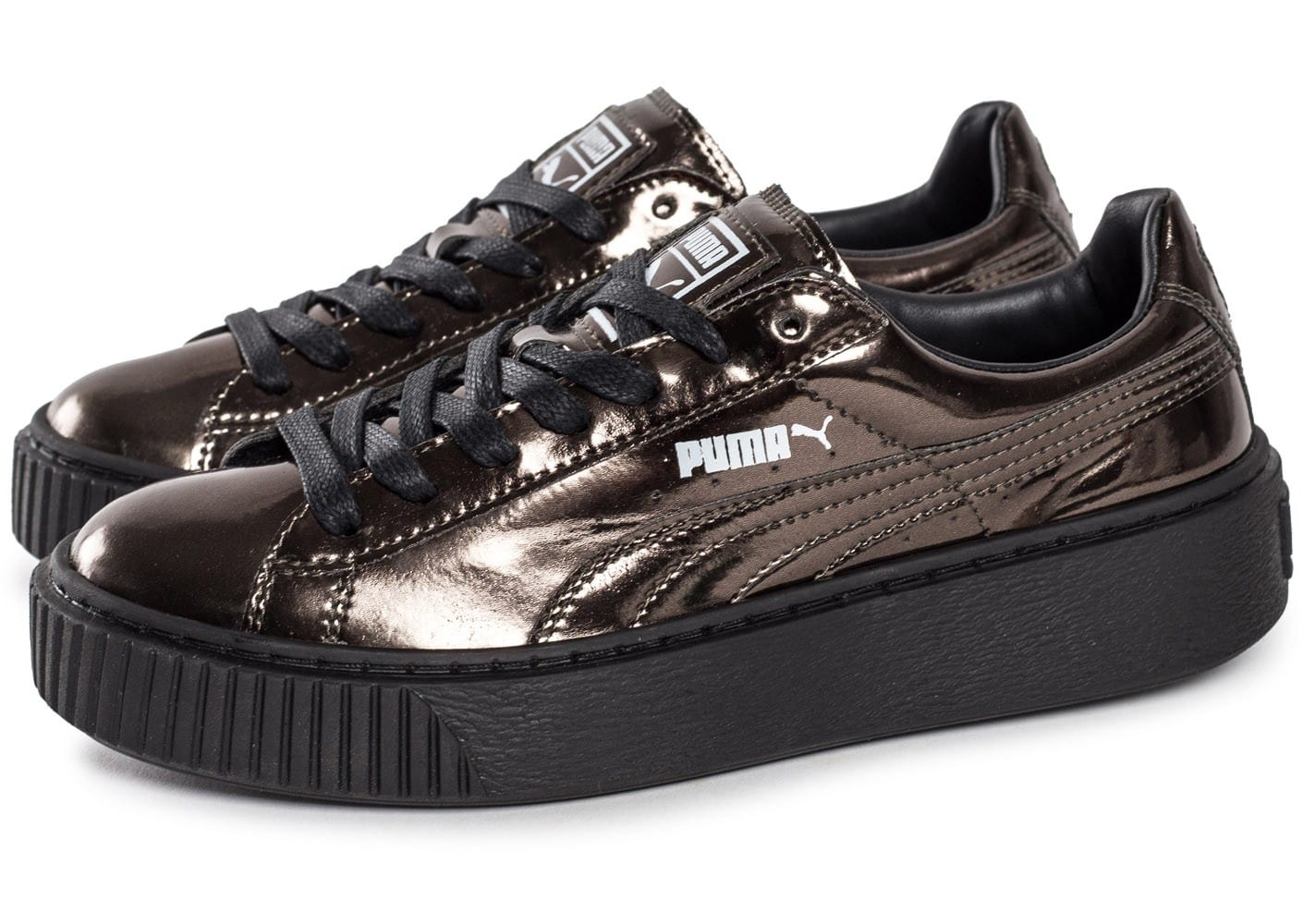 Puma Basket Platform Metallic bronze Chaussures Baskets