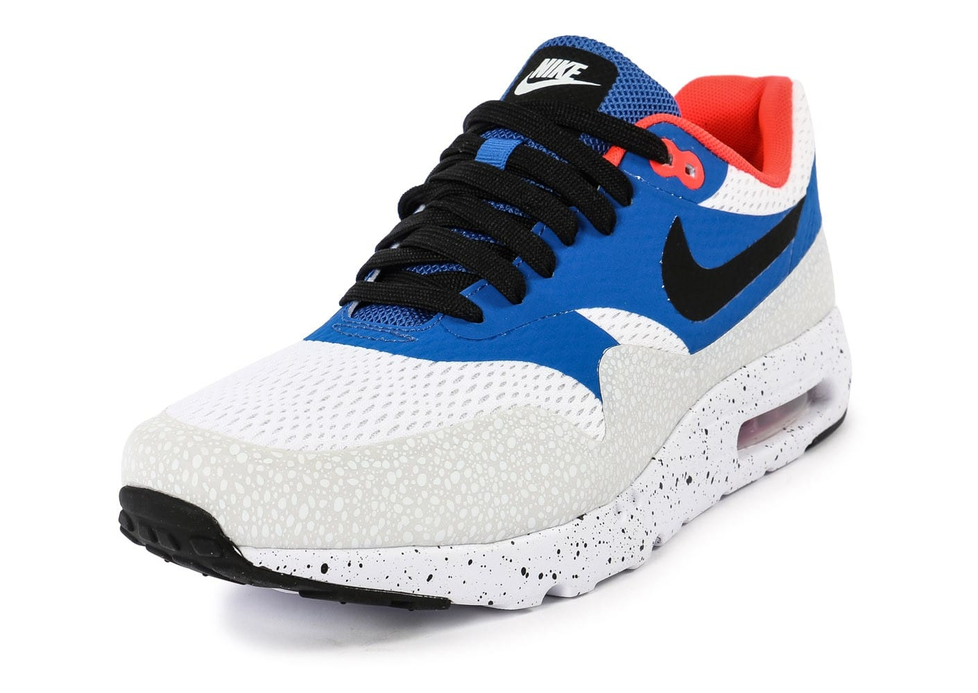 designer fashion f2327 2bf5f ... Chaussures Nike Air Max 1 Ultra Essential bleue et blanche vue  intérieure ...