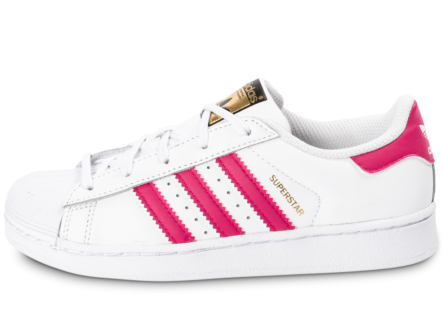Adidas - Basket Superstar Foundation Enfant C Blanc et Rose