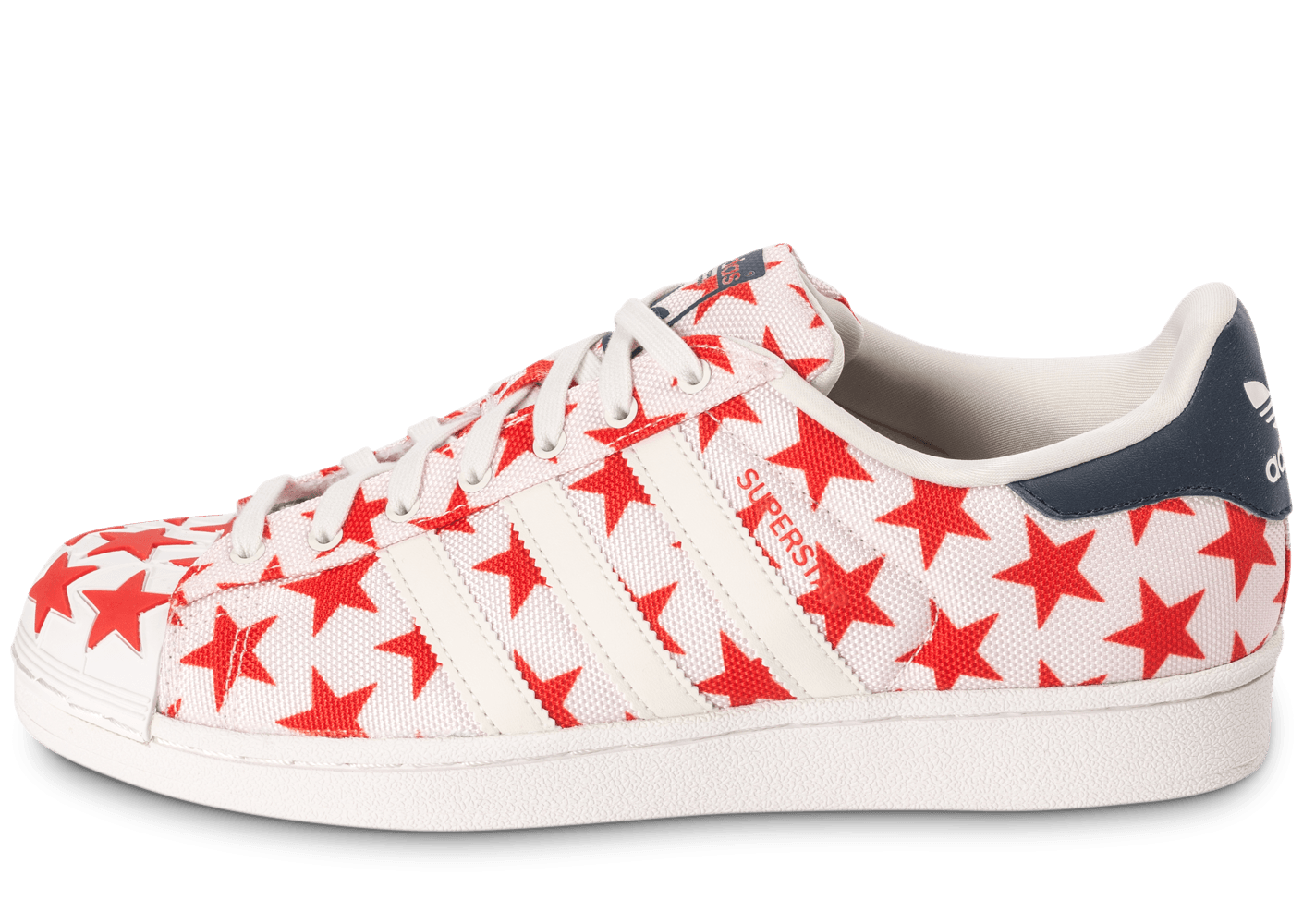 3389c3876433 adidas Superstar Shell Toe Star Pack blanche et rouge - Chaussures Baskets  homme - Chausport