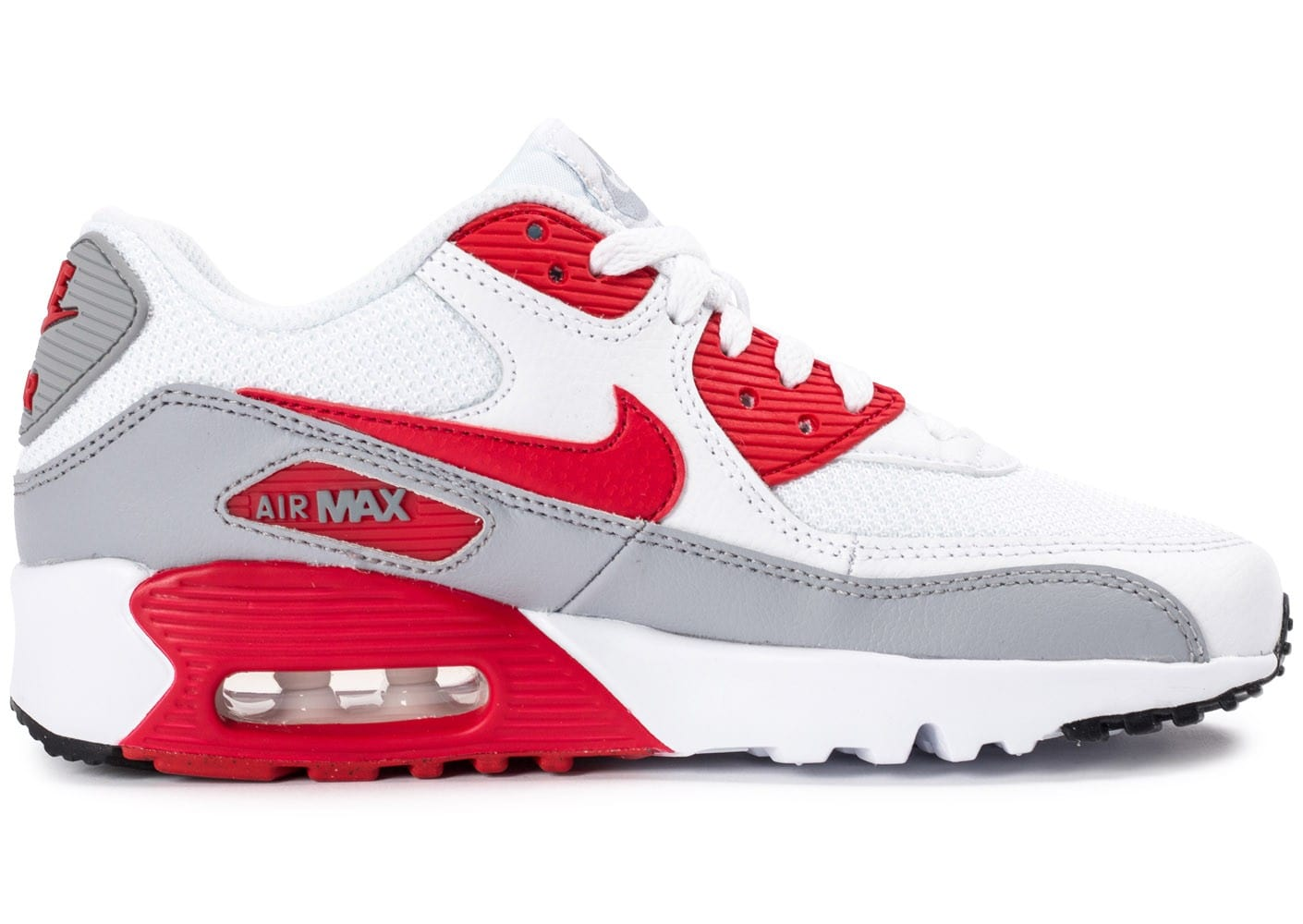 huge selection of 63069 6daac ... Chaussures Nike Air Max 90 Mesh Junior blanche et rouge vue dessous ...