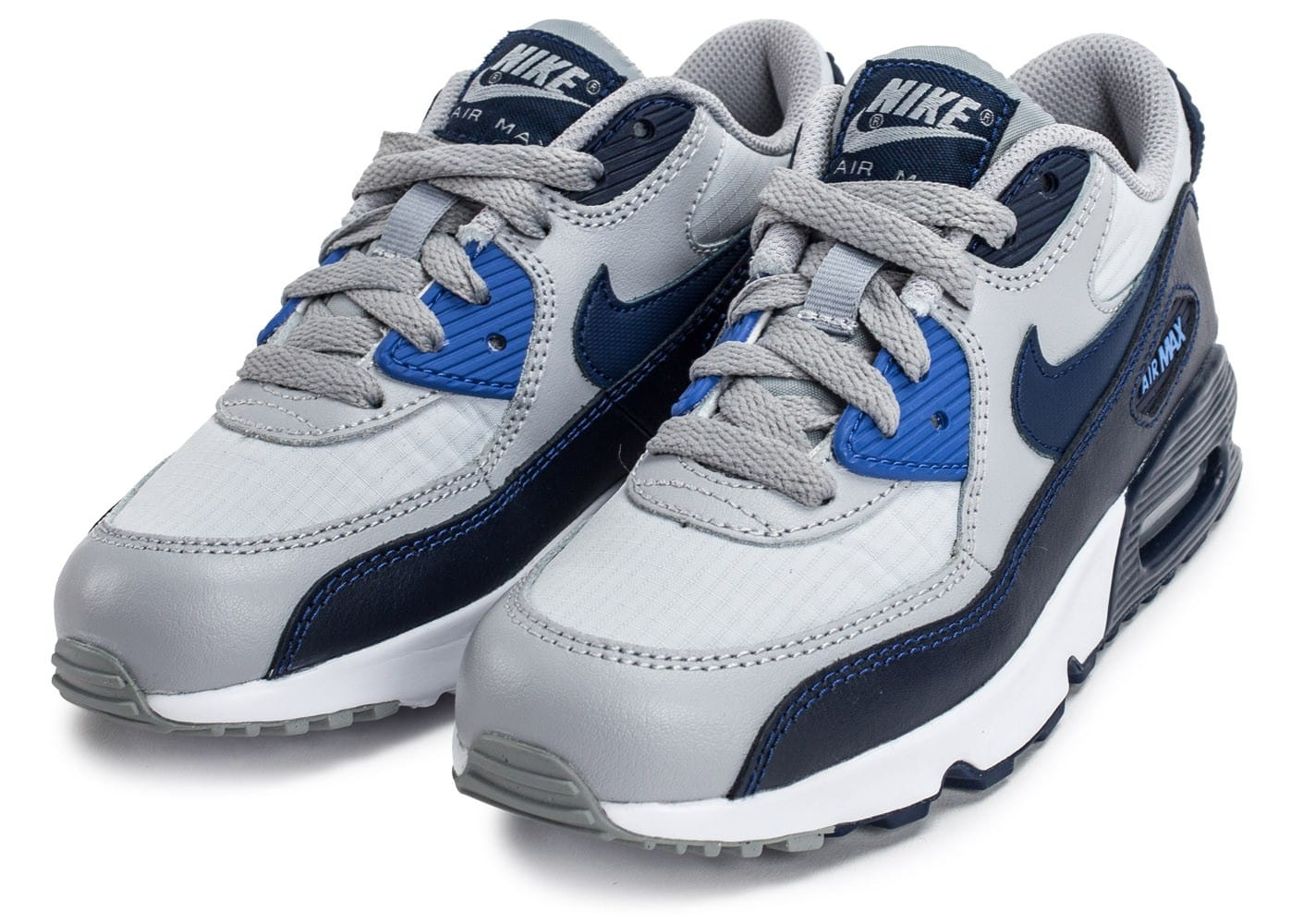 nike air max 90 mesh enfant grise et bleue chaussures enfant chausport. Black Bedroom Furniture Sets. Home Design Ideas