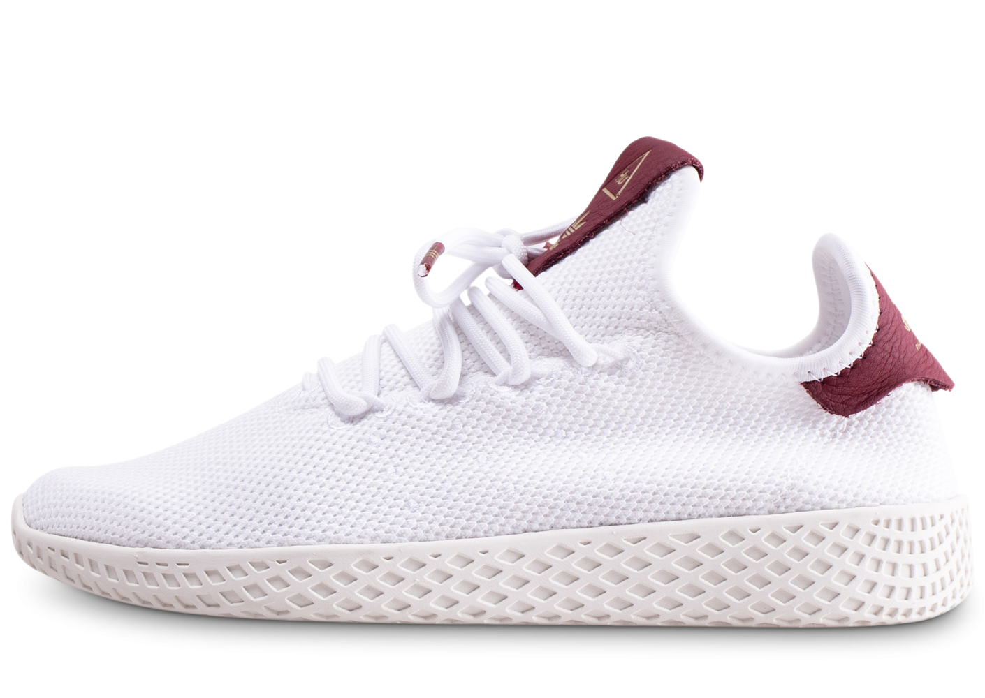 adidas Pharrell Williams Tennis Hu blanche et bordeaux femme
