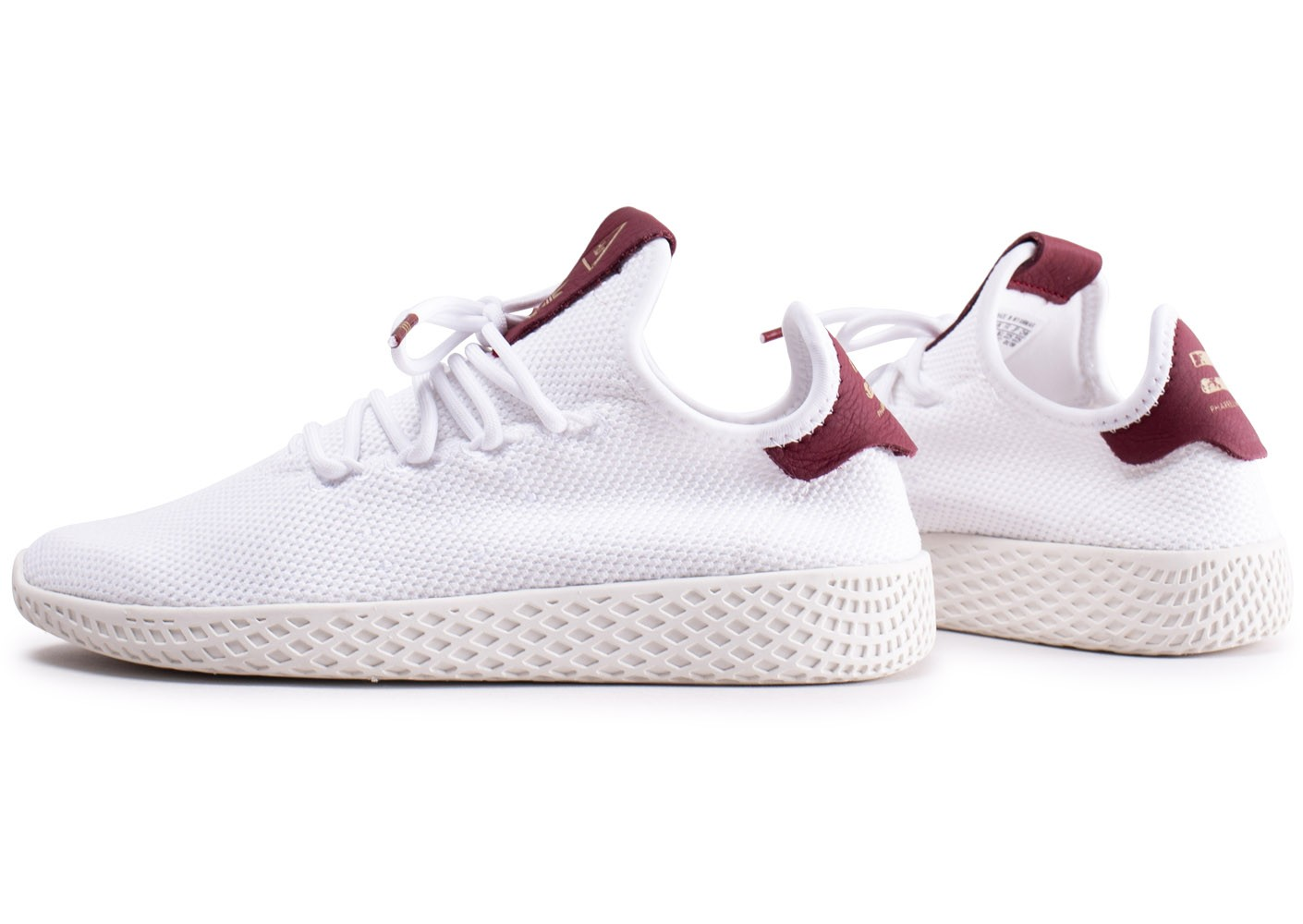 revendeur 89aa1 09224 adidas Pharrell Williams Tennis Hu blanche et bordeaux femme ...