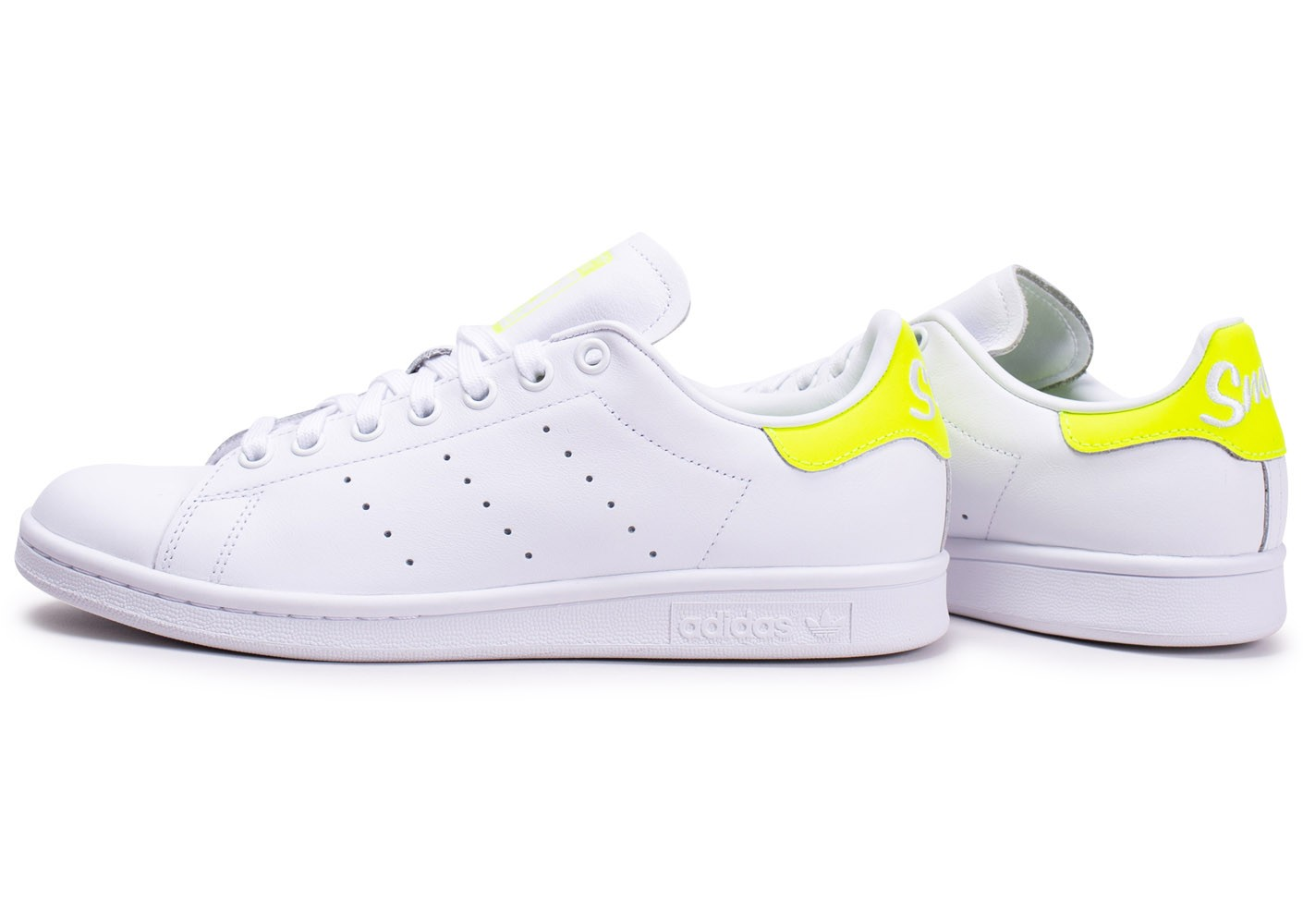 adidas Stan Smith blanc jaune - Chaussures Baskets homme ...