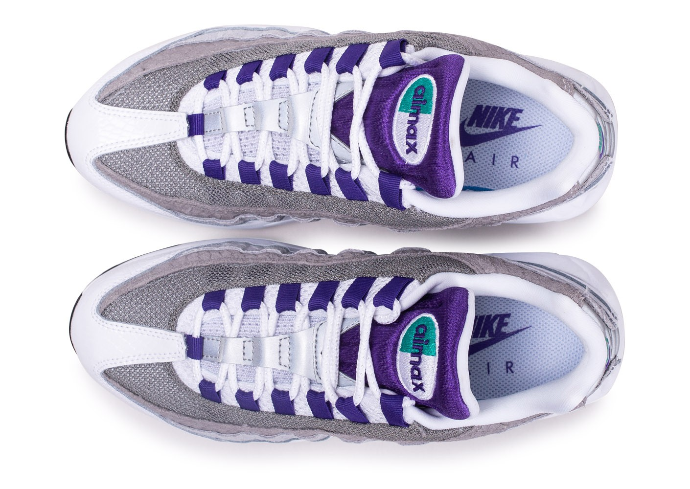 code promo 60b26 859dc Nike Air Max 95 Blanche Grise Violette et Verte - Chaussures ...