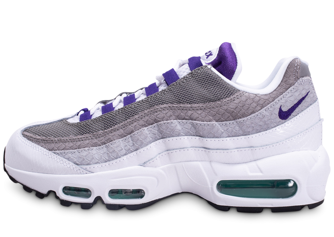 Nike Air Max 95 Blanche Grise Violette et Verte Chaussures