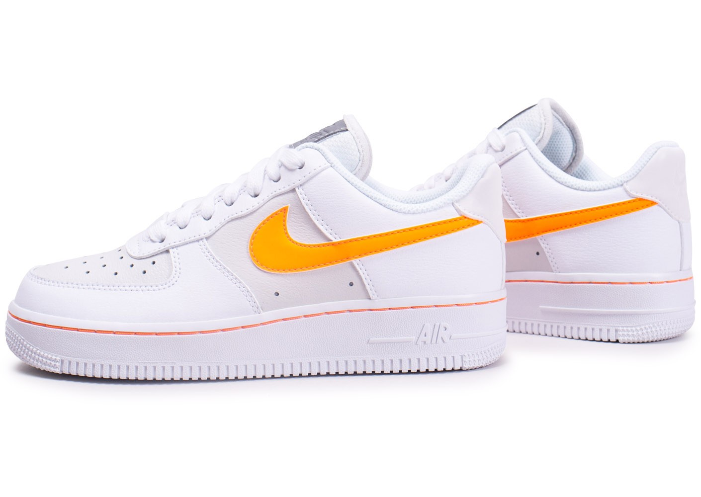 Nike Air Force One Blanche et Orange - Chaussures Baskets ...