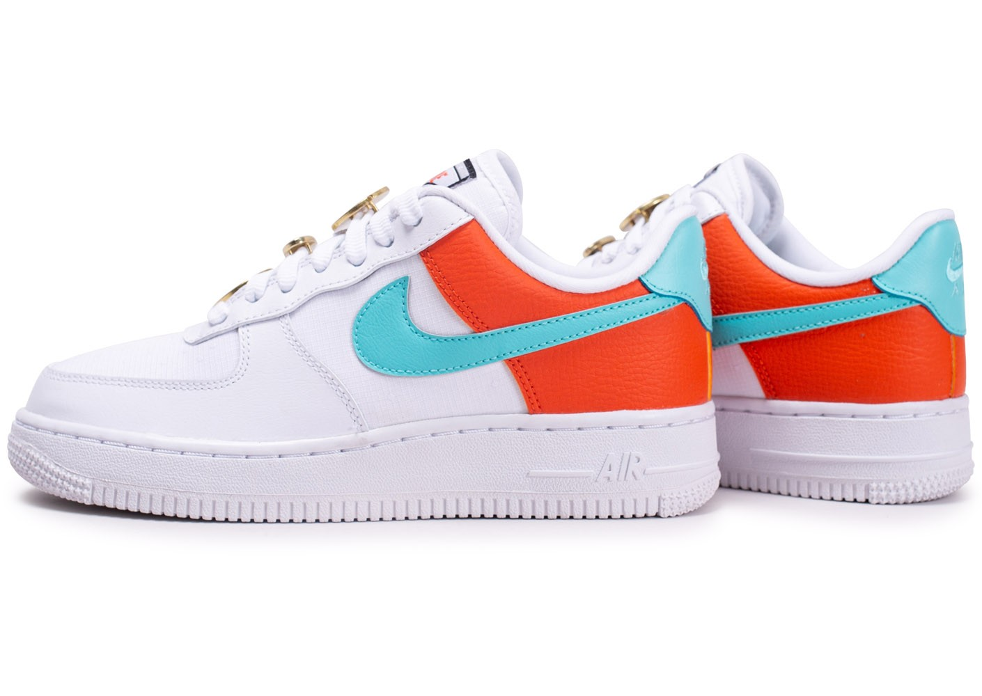 best value sneakers hot product Nike Air Force 1 Blanche, bleu et marron - Chaussures Baskets ...