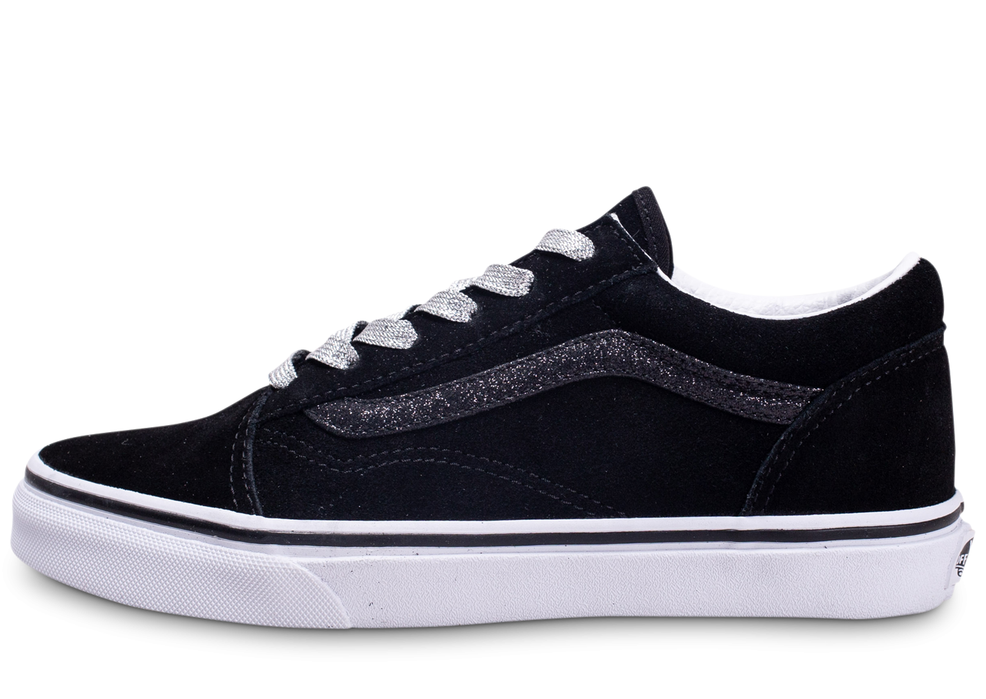 Vans Old Skool Low Noir Argenté junior