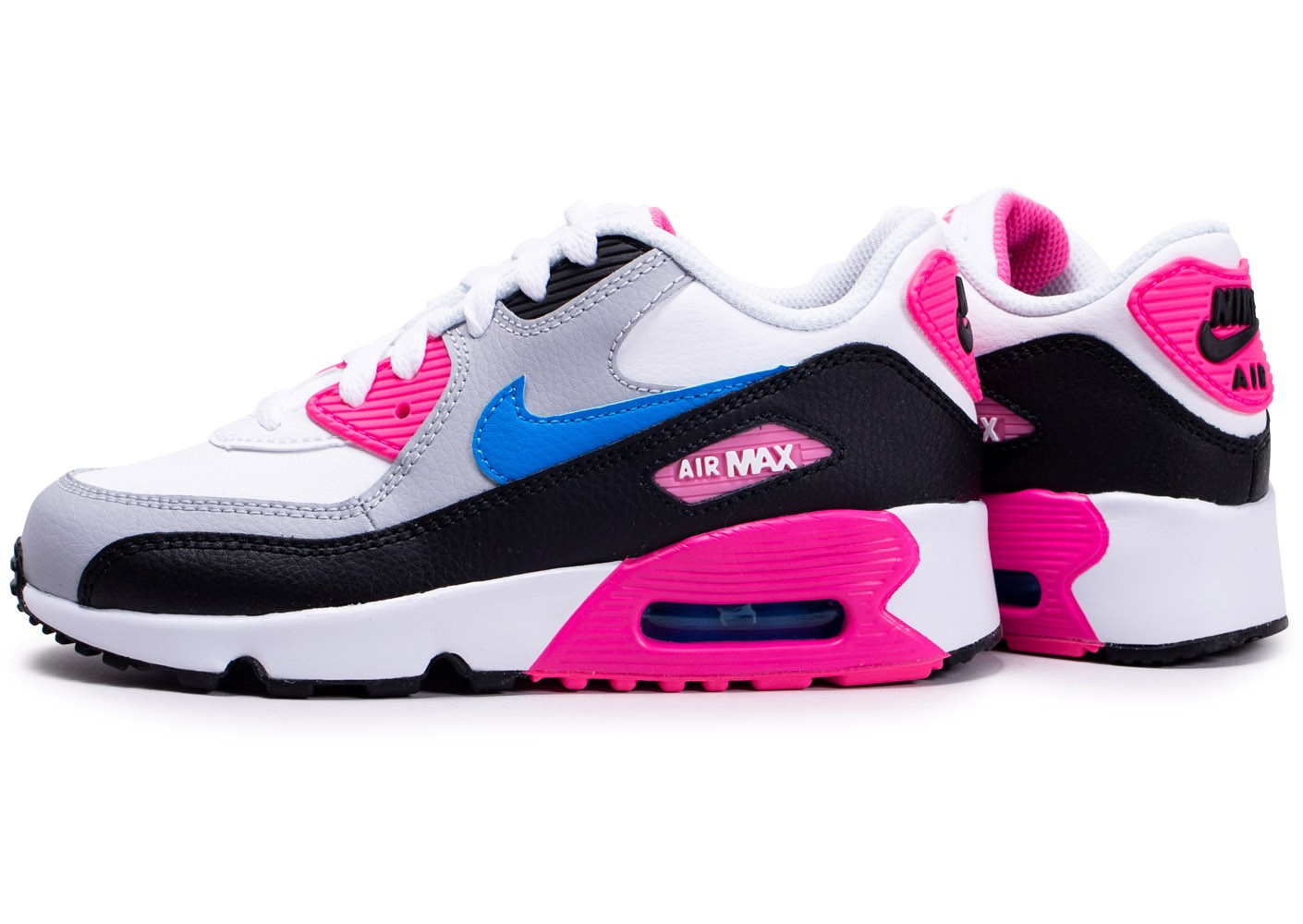Nike Air Max 90 Leather blanc rose bleu enfant - Chaussures ...