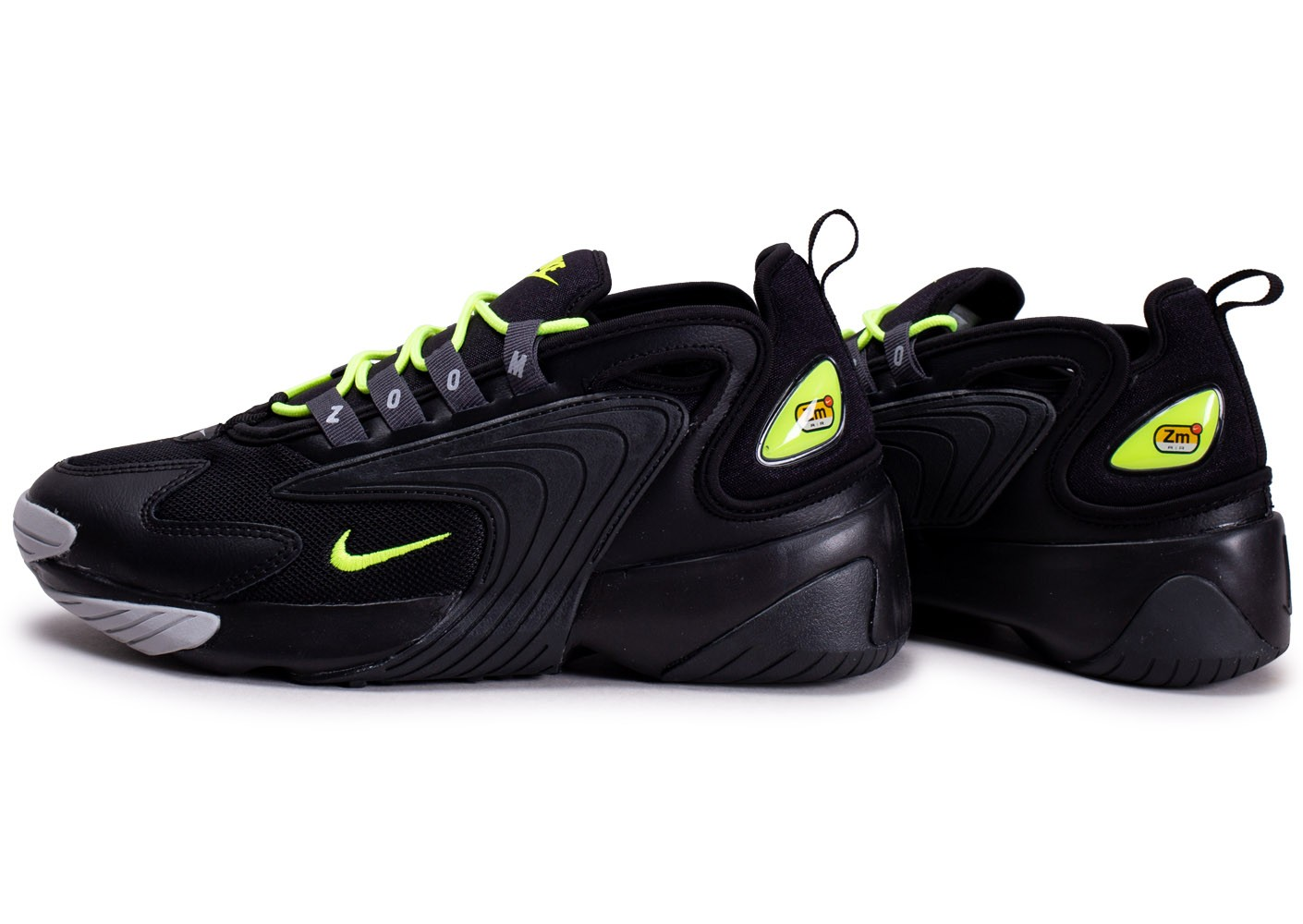 Nike Zoom 2K noire et jaune fluo - Chaussures Baskets homme ...