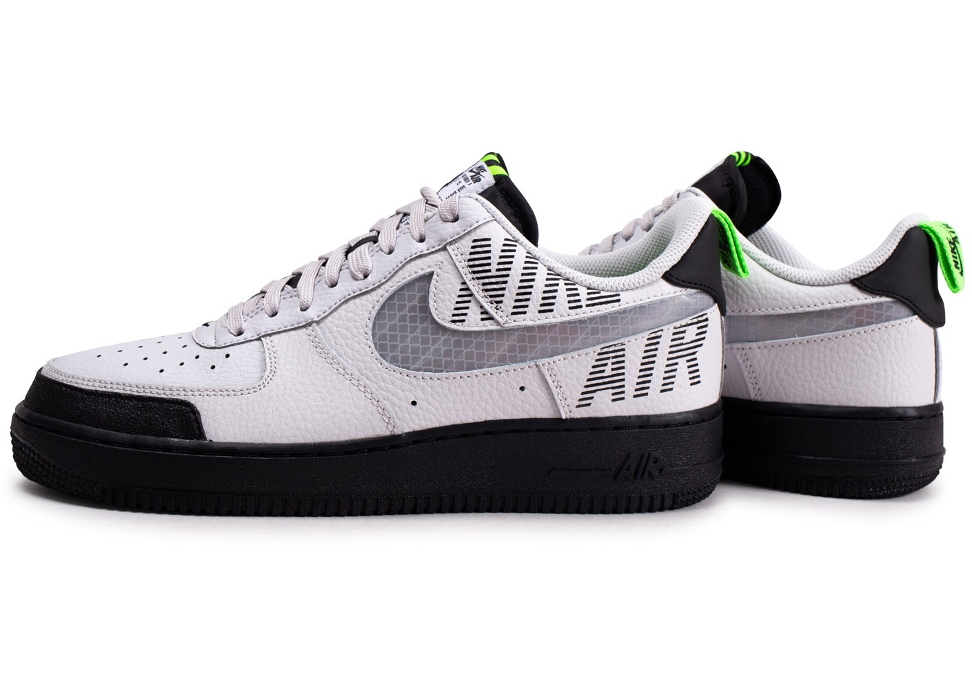 Nike Air Force 1 Under Construction noir blanc gris ...