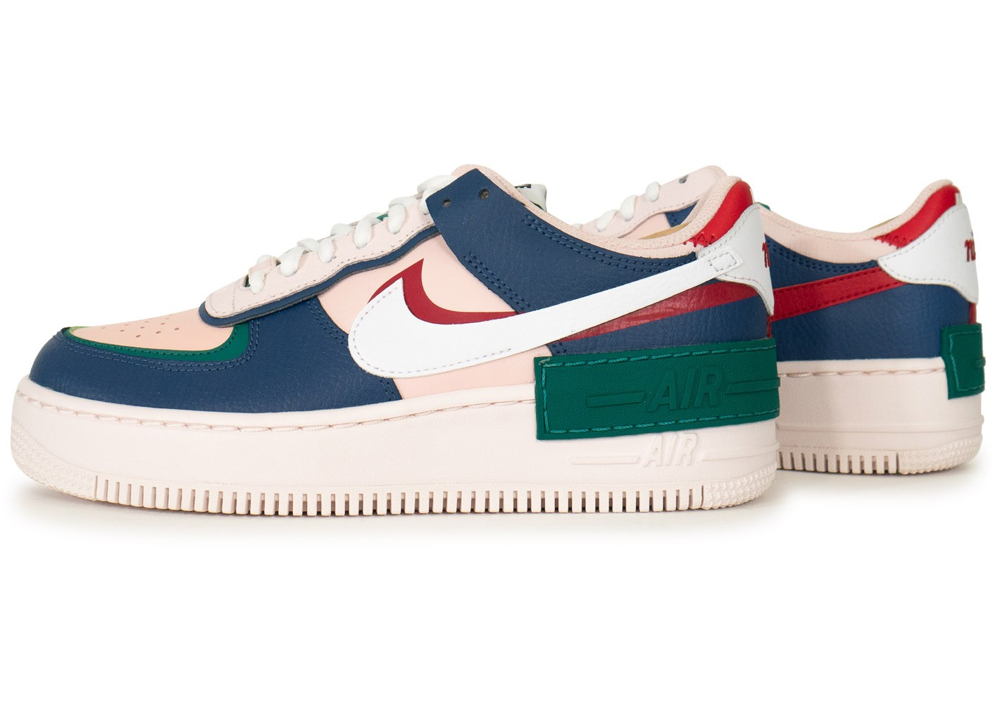 Nike Air Force 1 Shadow rose bleue verte femme - Chaussures ...