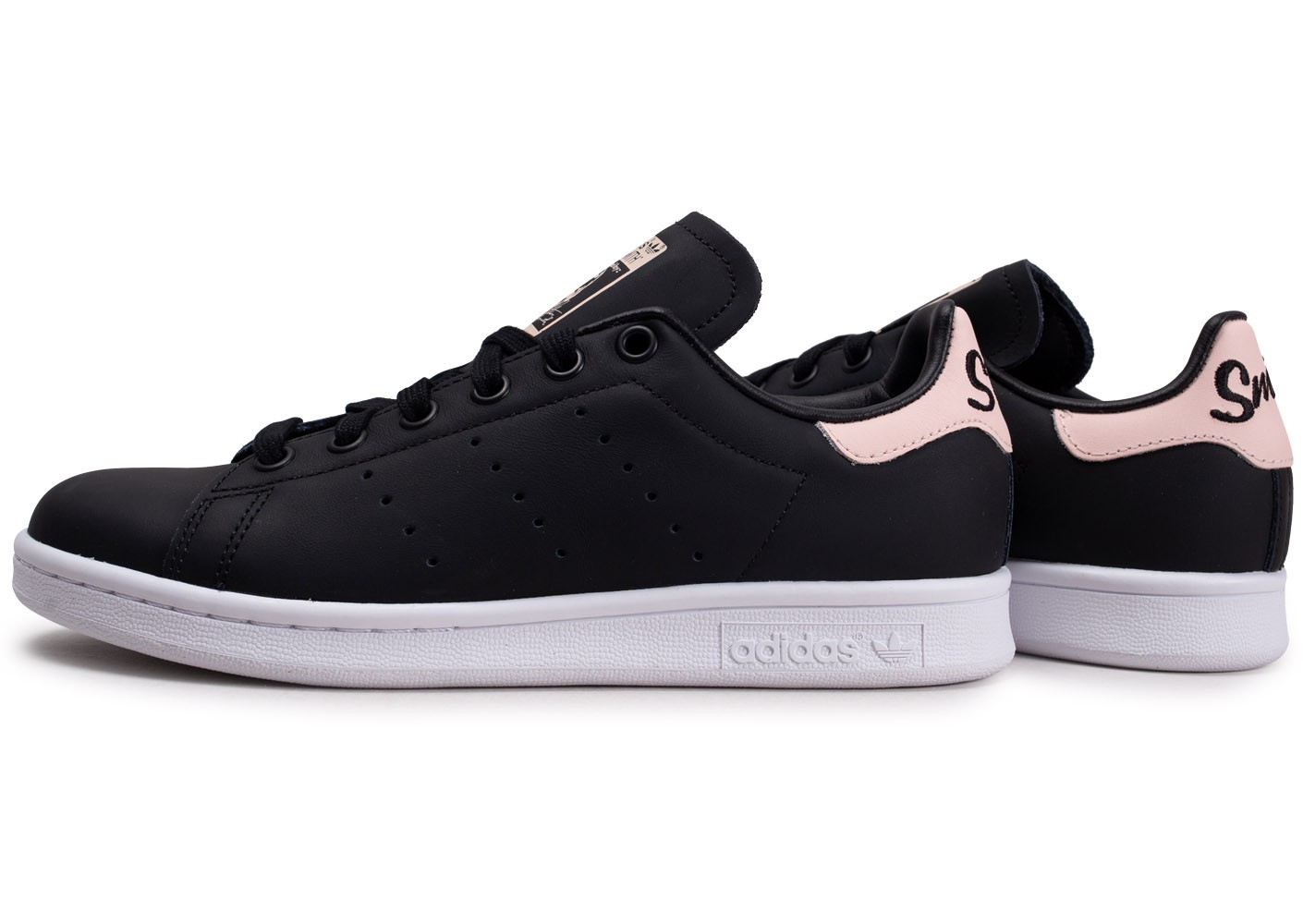 adidas Stan Smith noire et rose femme - Chaussures adidas ...
