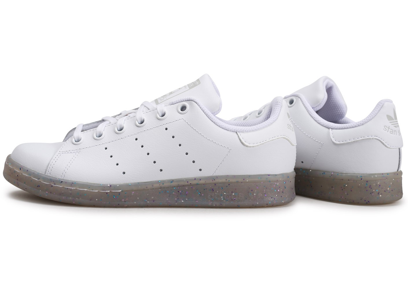 adidas Stan Smith blanche et paillettes Junior - Chaussures ...