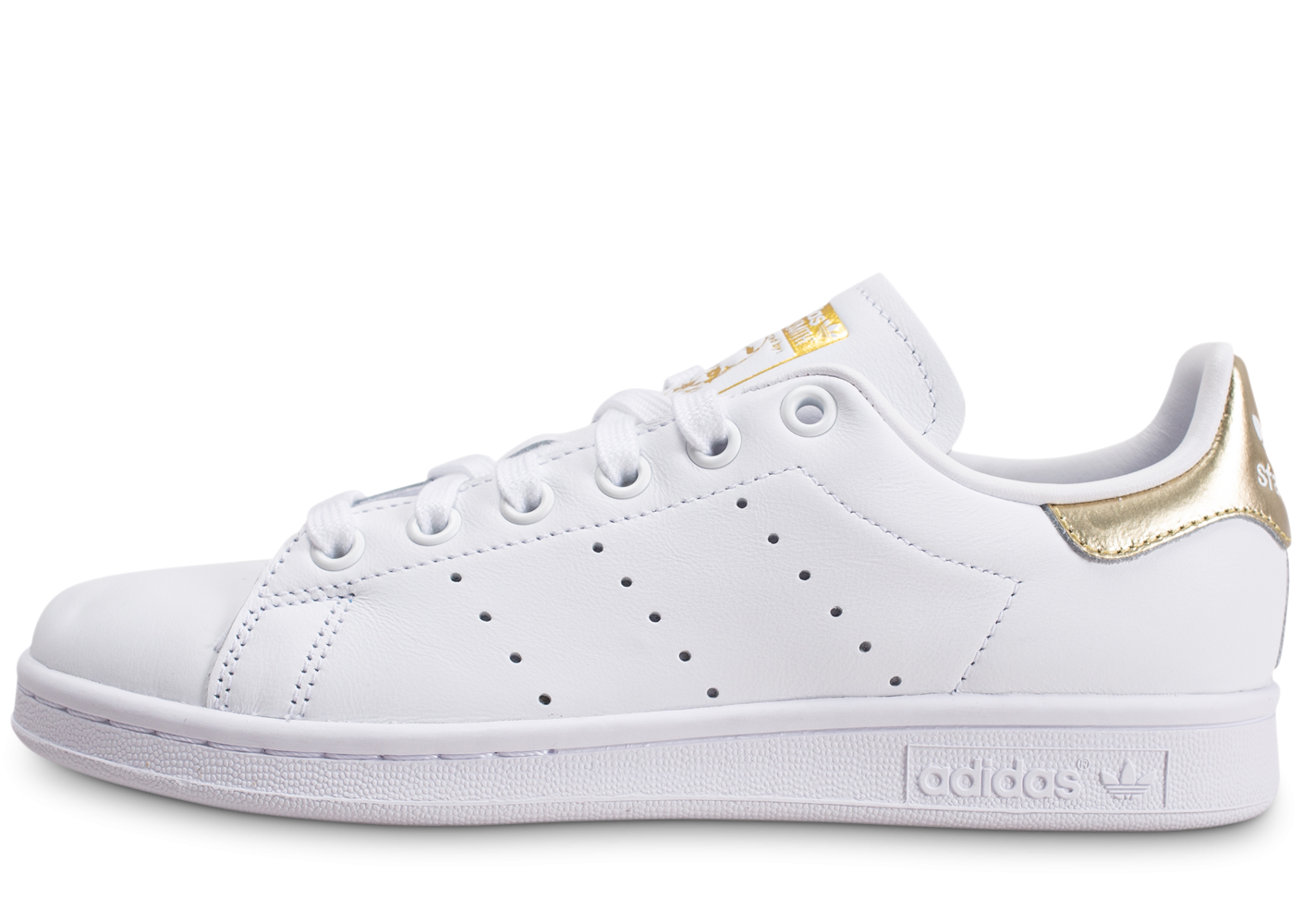 adidas stan smith femme blanc et or