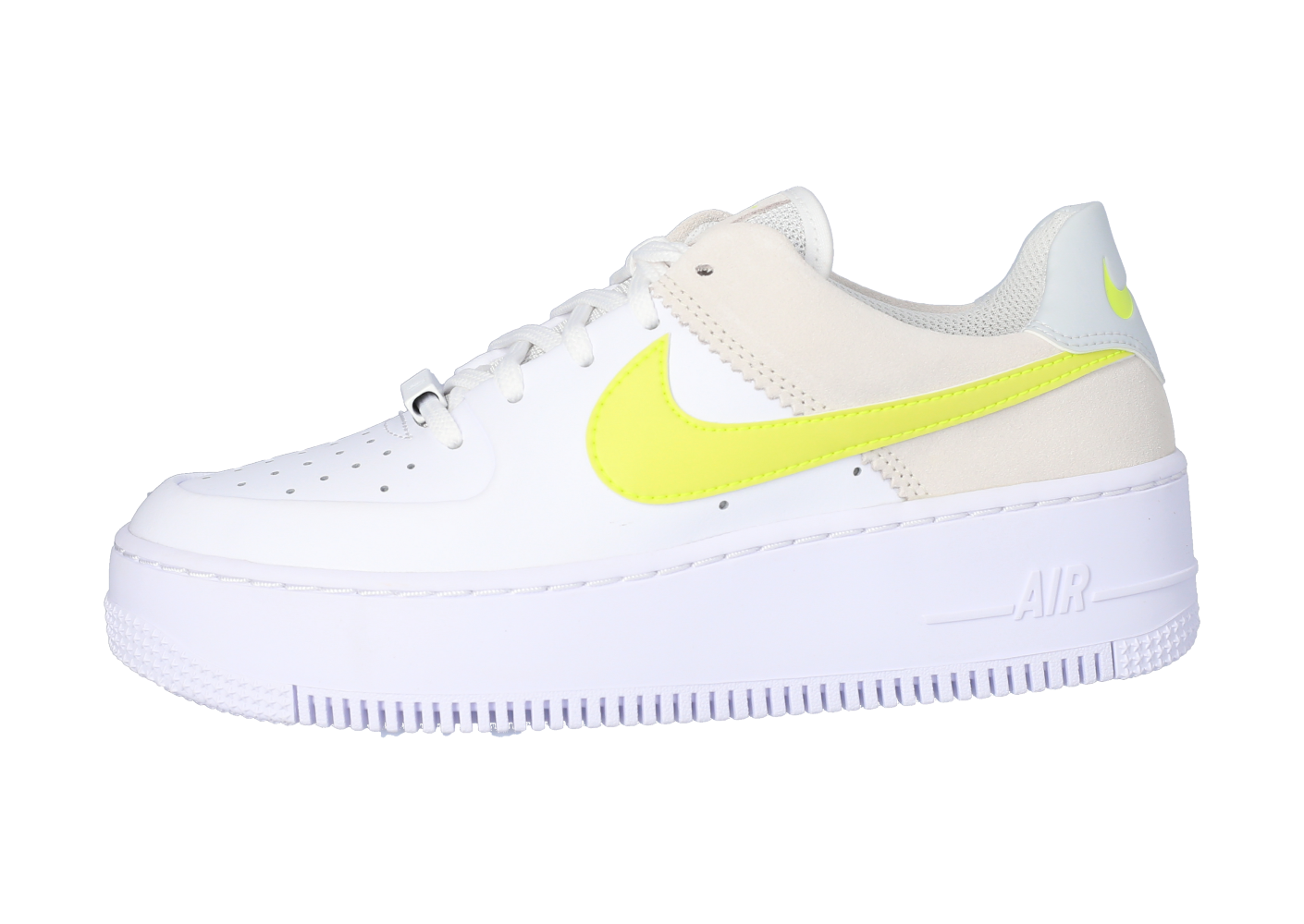 Nike Air Force 1 Sage Low blanche et jaune - Chaussures Baskets ...