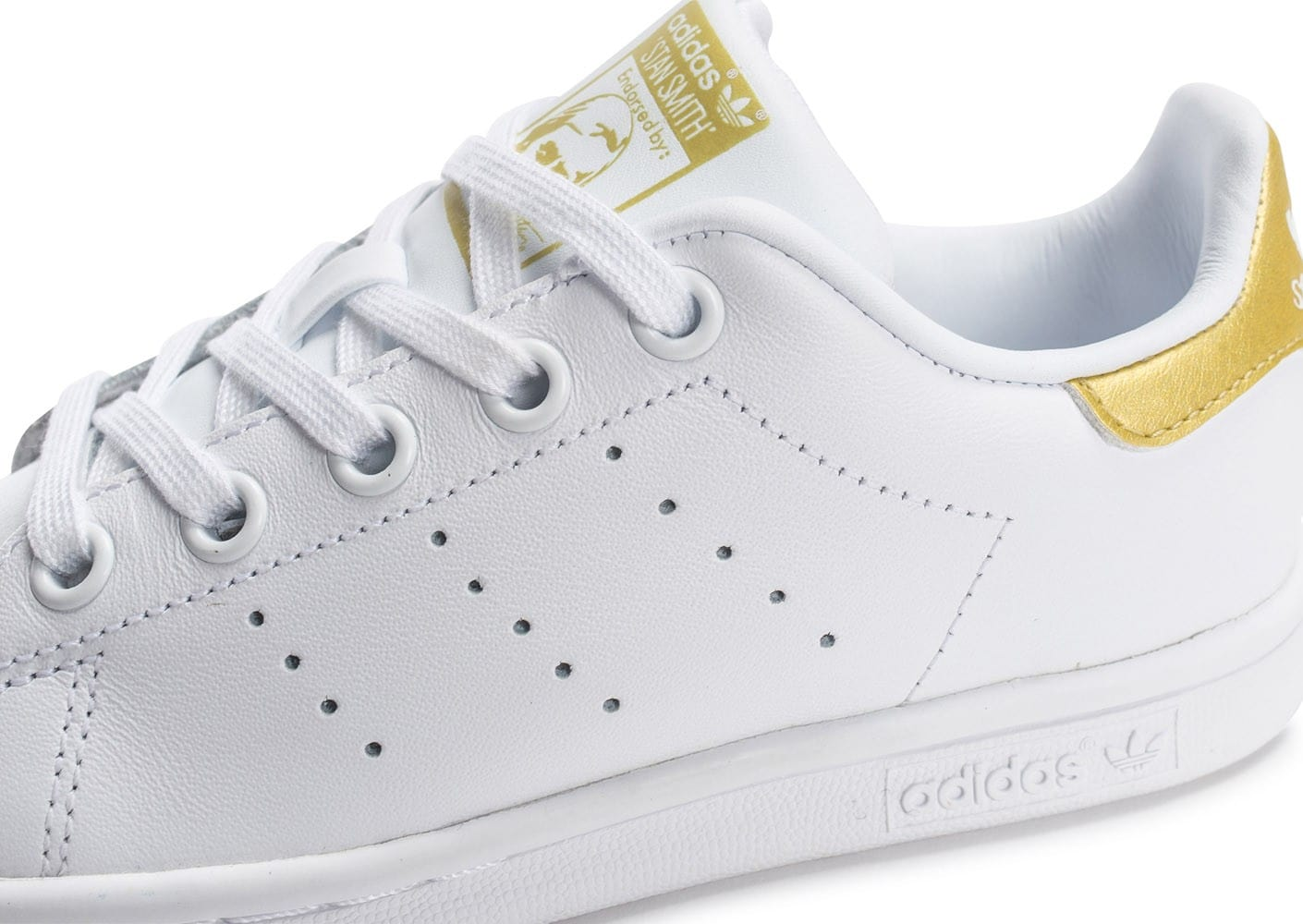 ... Chaussures adidas Stan Smith Enfant blanche et or vue dessus