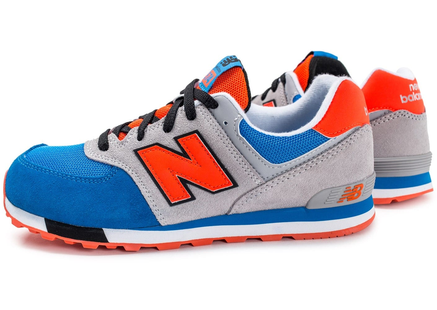 new balance kl574 grise orange et bleu chaussures enfant chausport. Black Bedroom Furniture Sets. Home Design Ideas