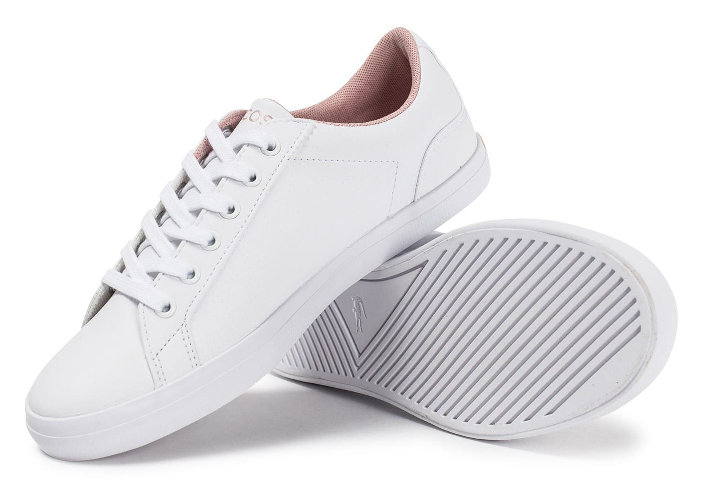 competitive price 82bf5 e16cd Cliquez pour zoomer Chaussures Lacoste Lerond Perf blanche et rose vue  extérieure Chaussures Lacoste Lerond Perf blanche et rose vue intérieure  Chaussures ...