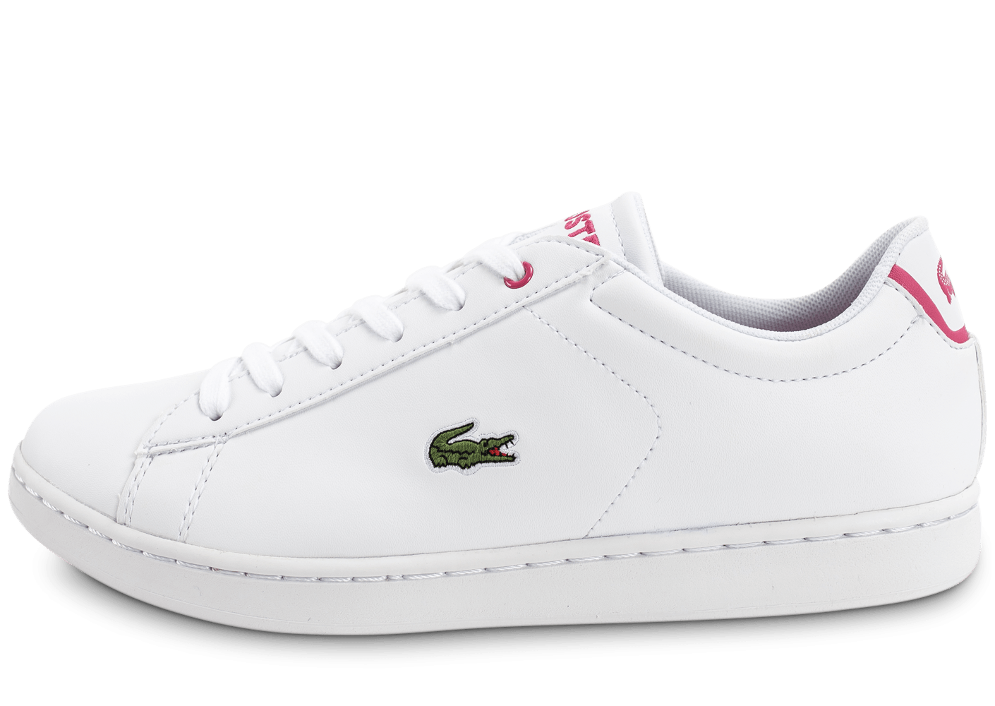 ac466db81f Lacoste Carnaby EVO blanche et rose - Chaussures Enfant - Chausport
