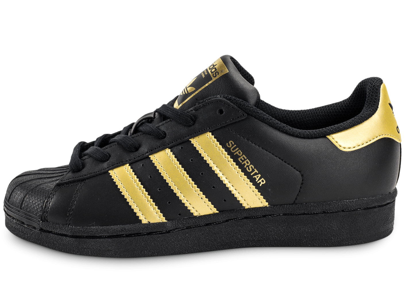371d628cb5dec adidas Superstar Junior Black Gold - Chaussures adidas - Chausport