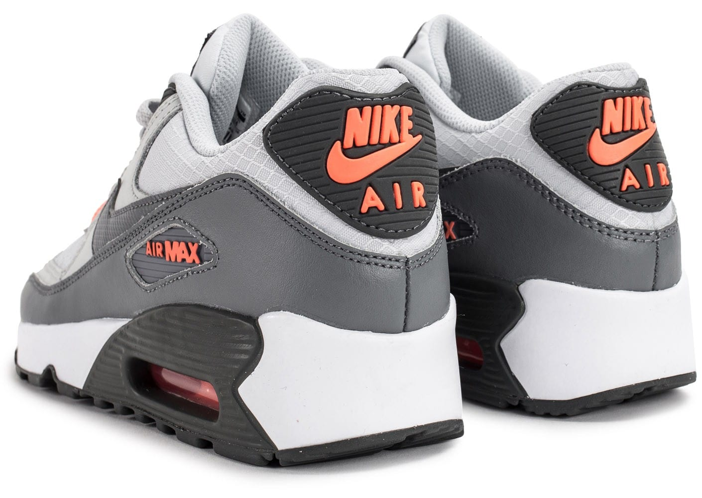 outlet store ad8bb ff21c ... Chaussures Nike Air Max 90 Mesh Junior grise et orange vue dessous ...