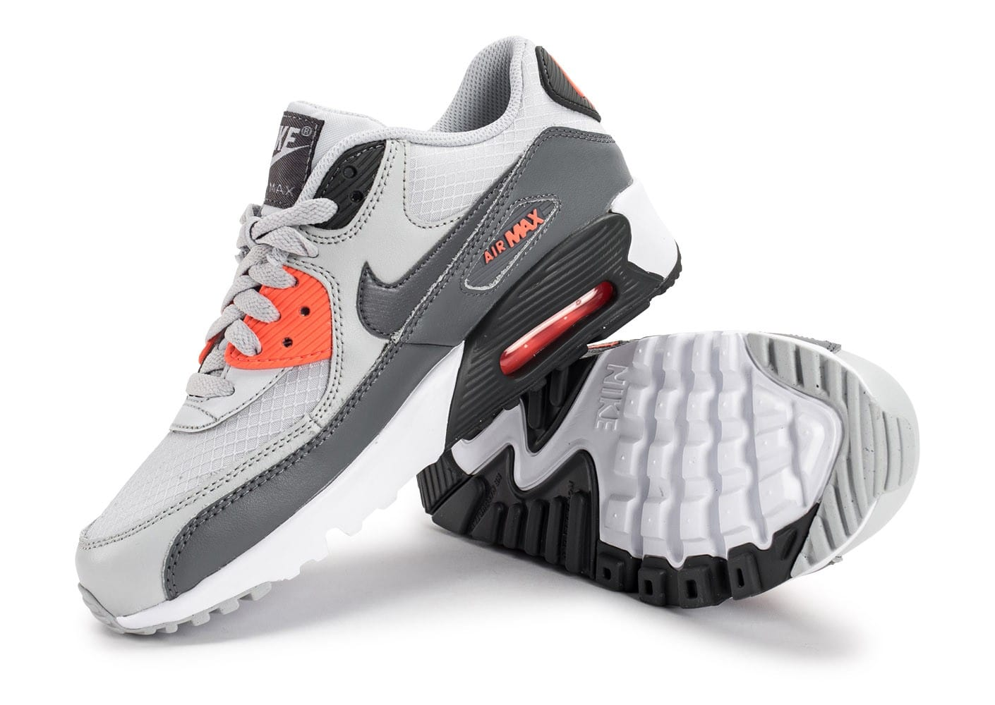 best loved b0524 0099f ... Chaussures Nike Air Max 90 Mesh Junior grise et orange vue avant ...