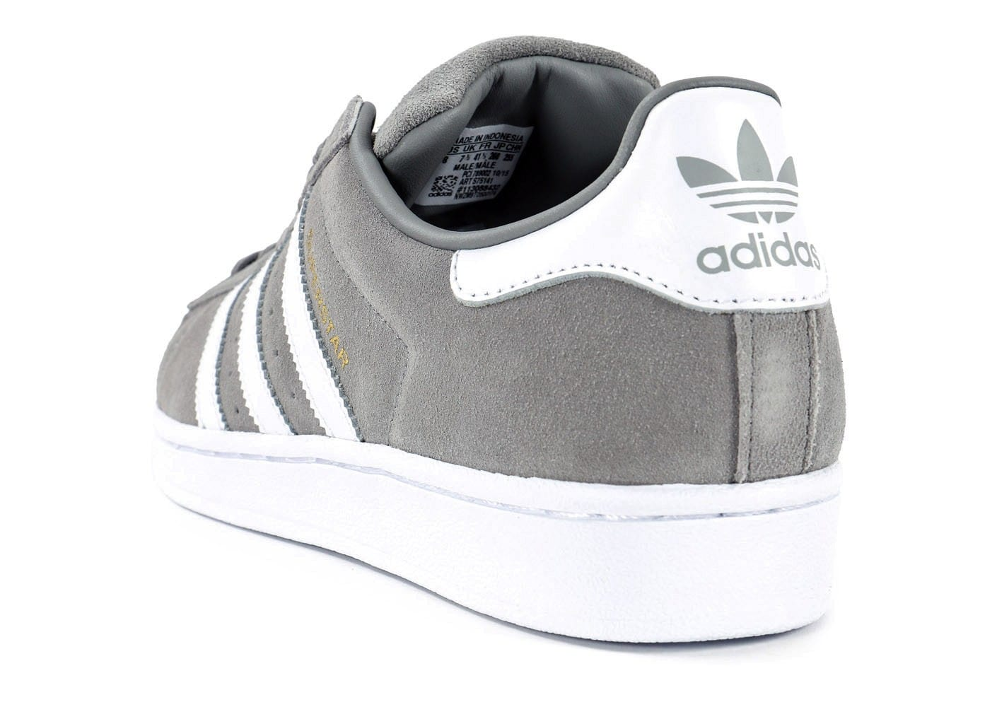 ... Chaussures adidas Superstar Suede grise vue arrière ...