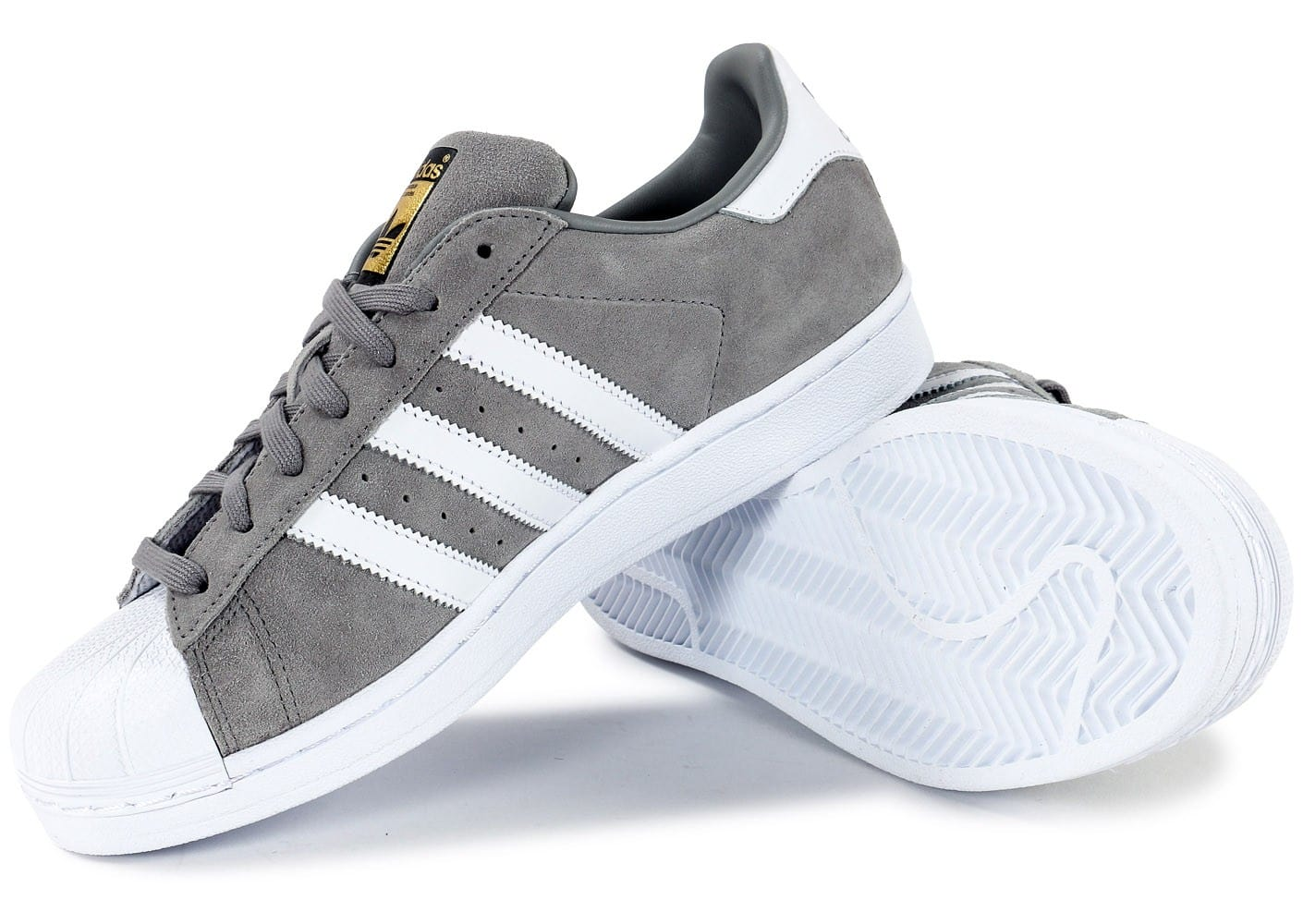 ... Chaussures adidas Superstar Suede grise vue intérieure ...