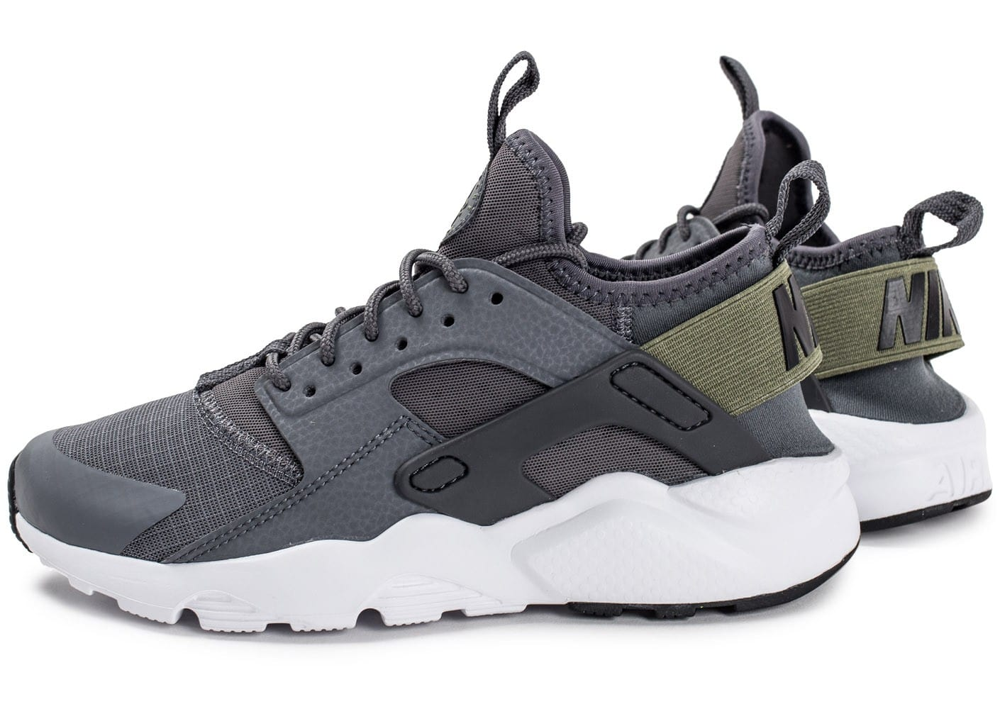 Nike Air Huarache Ultra Junior grise et kaki Chaussures