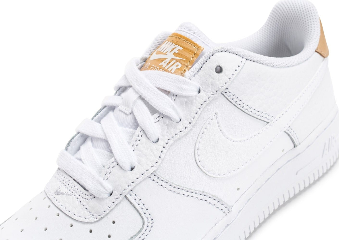 finest selection ef5db 27aa6 ... Chaussures Nike Air Force 1  07 LV08 Junior White Vachetta vue dessus