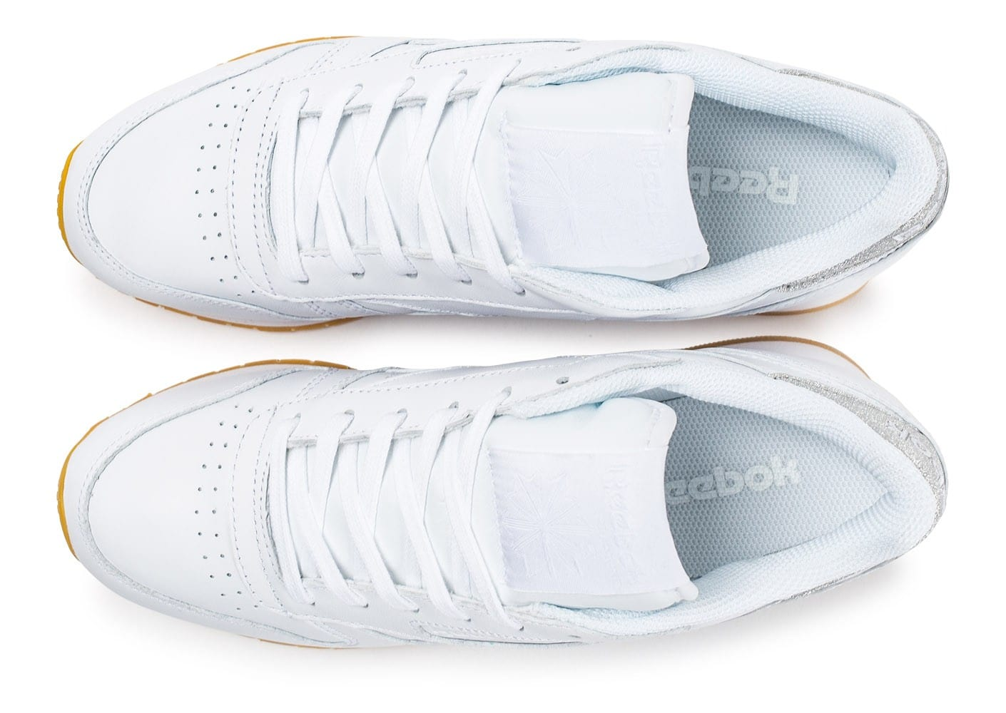 Diamond Baskets Blanche Leather Chaussures Gum Reebok Classic MpVUzS