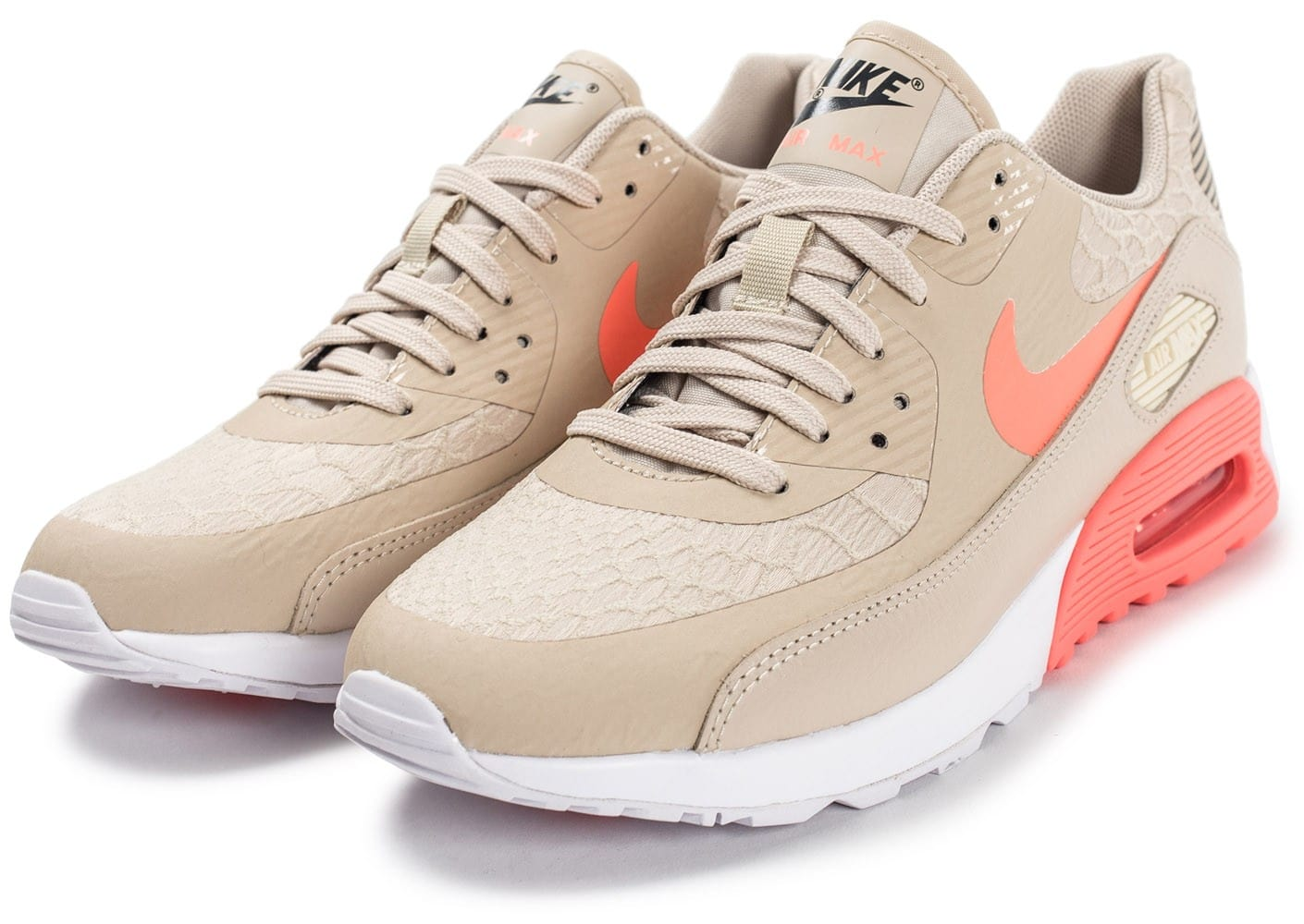 new concept ded58 91bcd Chaussures Nike Air Max 90 Ultra 2.0 beige et rose vue intérieure .