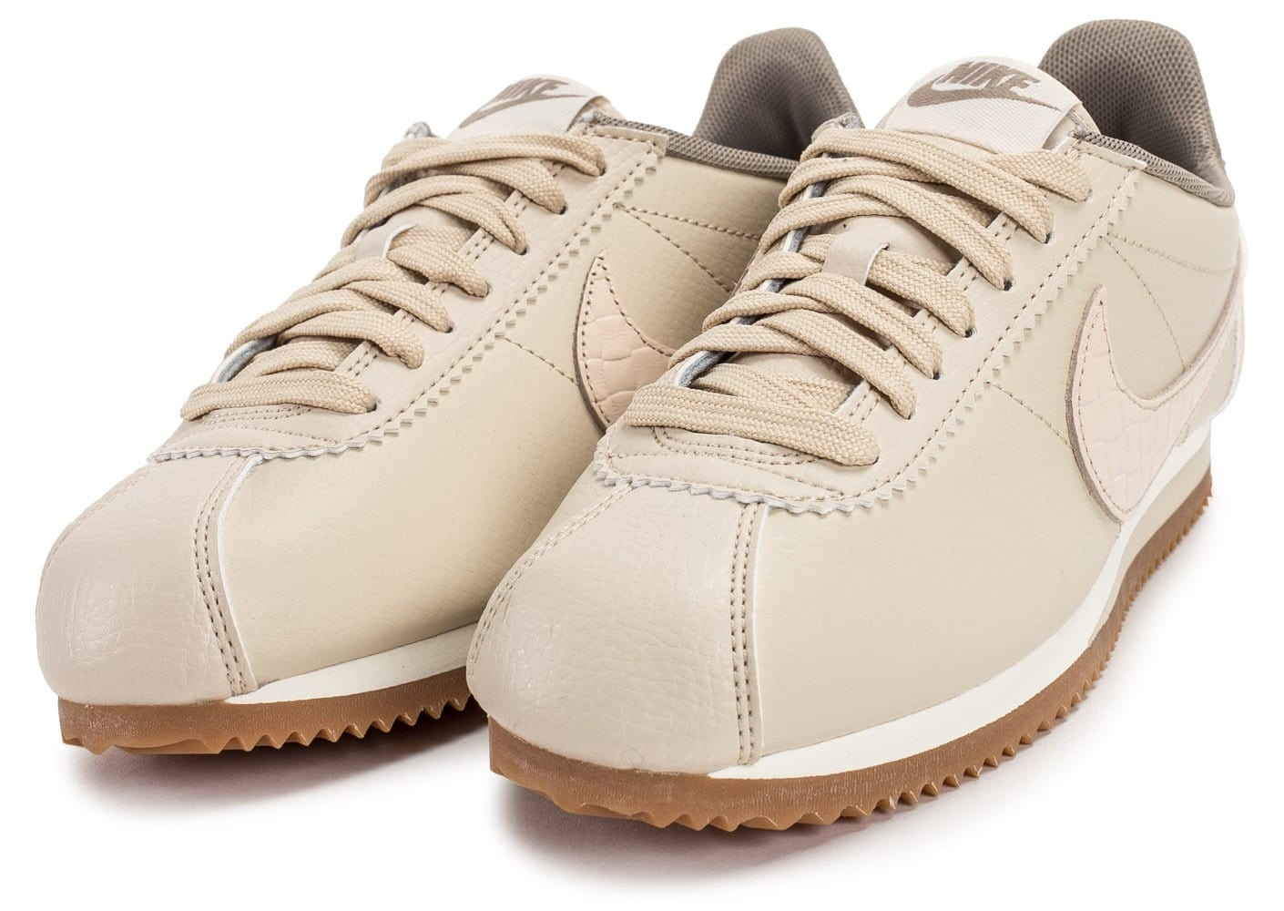 Leather Nike Cortez Chaussures Beige Classic Femme Baskets Lux WreCBxdo