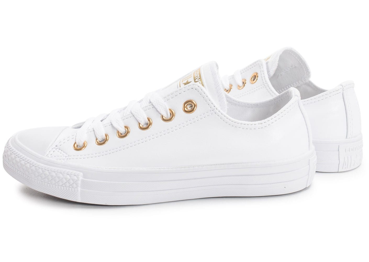 Converse Chuck Taylor All Star OX blanche et or - Chaussures ...