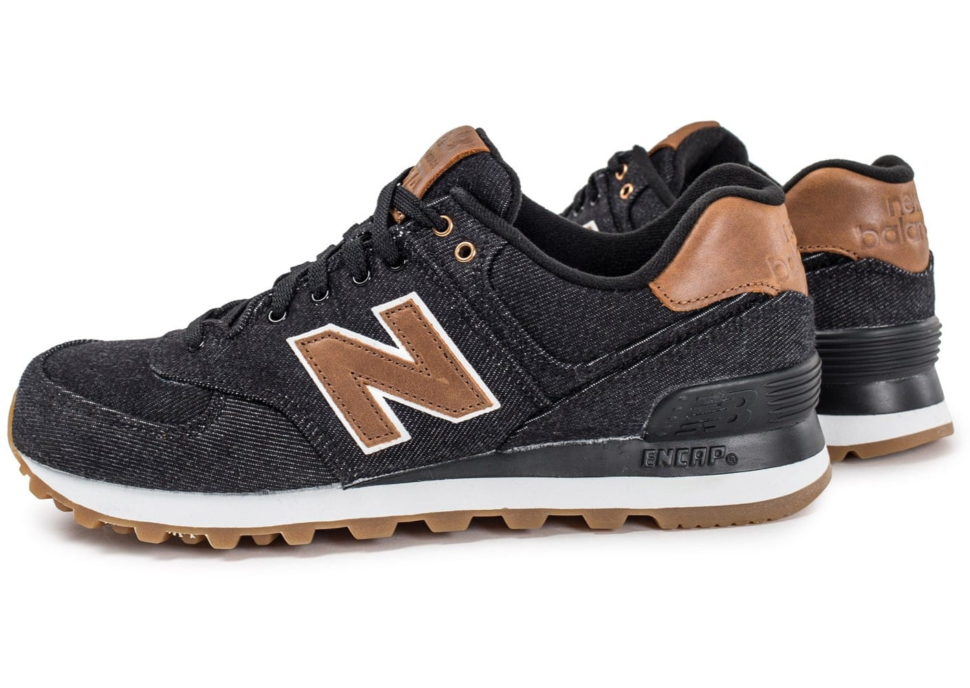 new balance ml574txa denim noire et marron chaussures baskets homme chausport. Black Bedroom Furniture Sets. Home Design Ideas