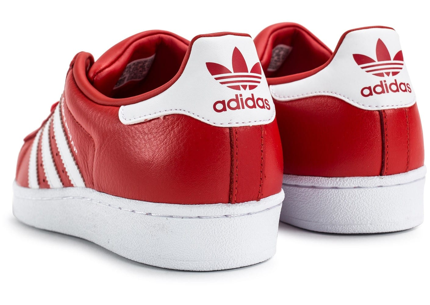 Et Rouge Adidas Chaussures Homme Blanche Cuir Superstar