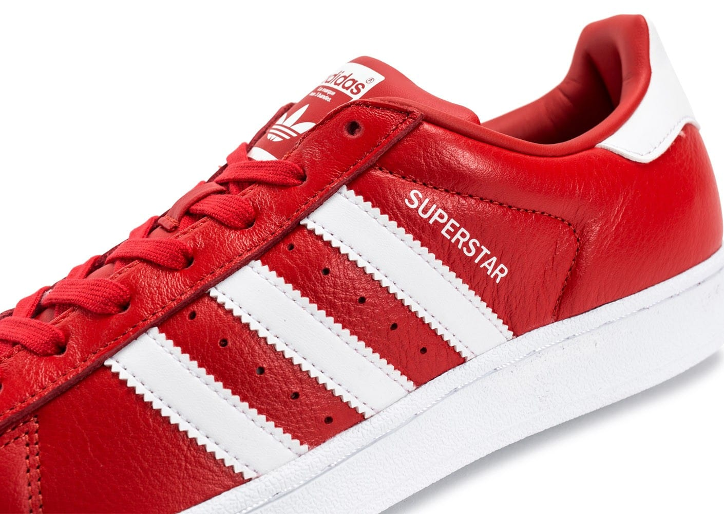 grossiste 66eb5 f455f adidas Superstar Cuir rouge et blanche - Chaussures Baskets ...