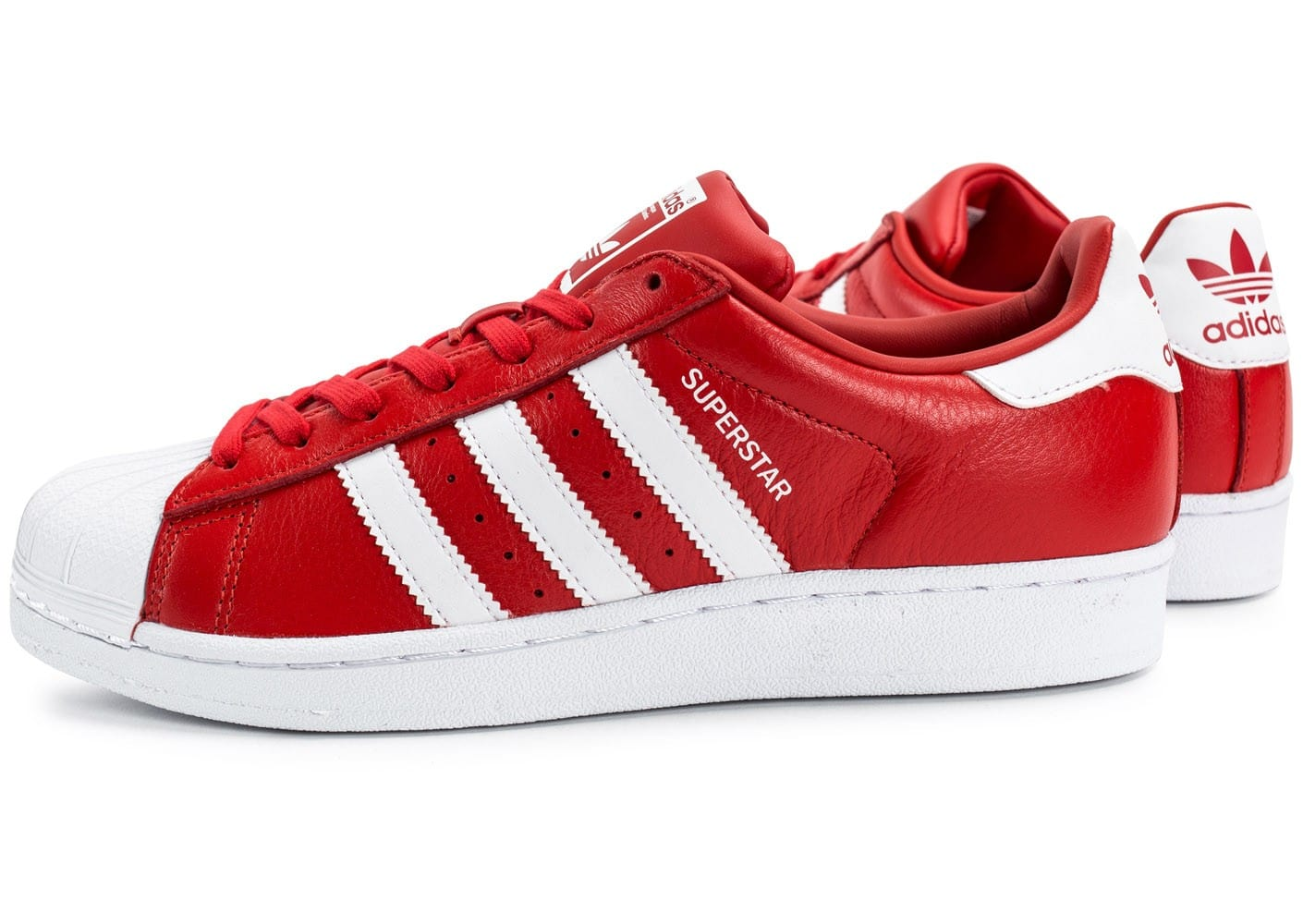 grossiste 6aad6 38cb0 adidas Superstar Cuir rouge et blanche - Chaussures Baskets ...