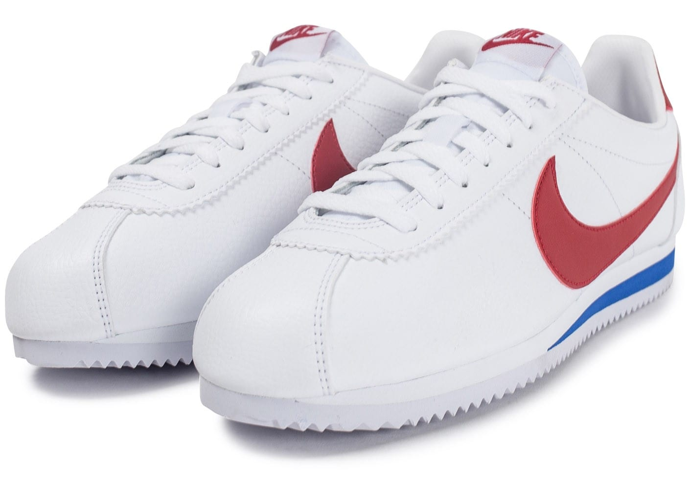 Nike Cortez Leather Blanche rouge et bleue - Chaussures ...