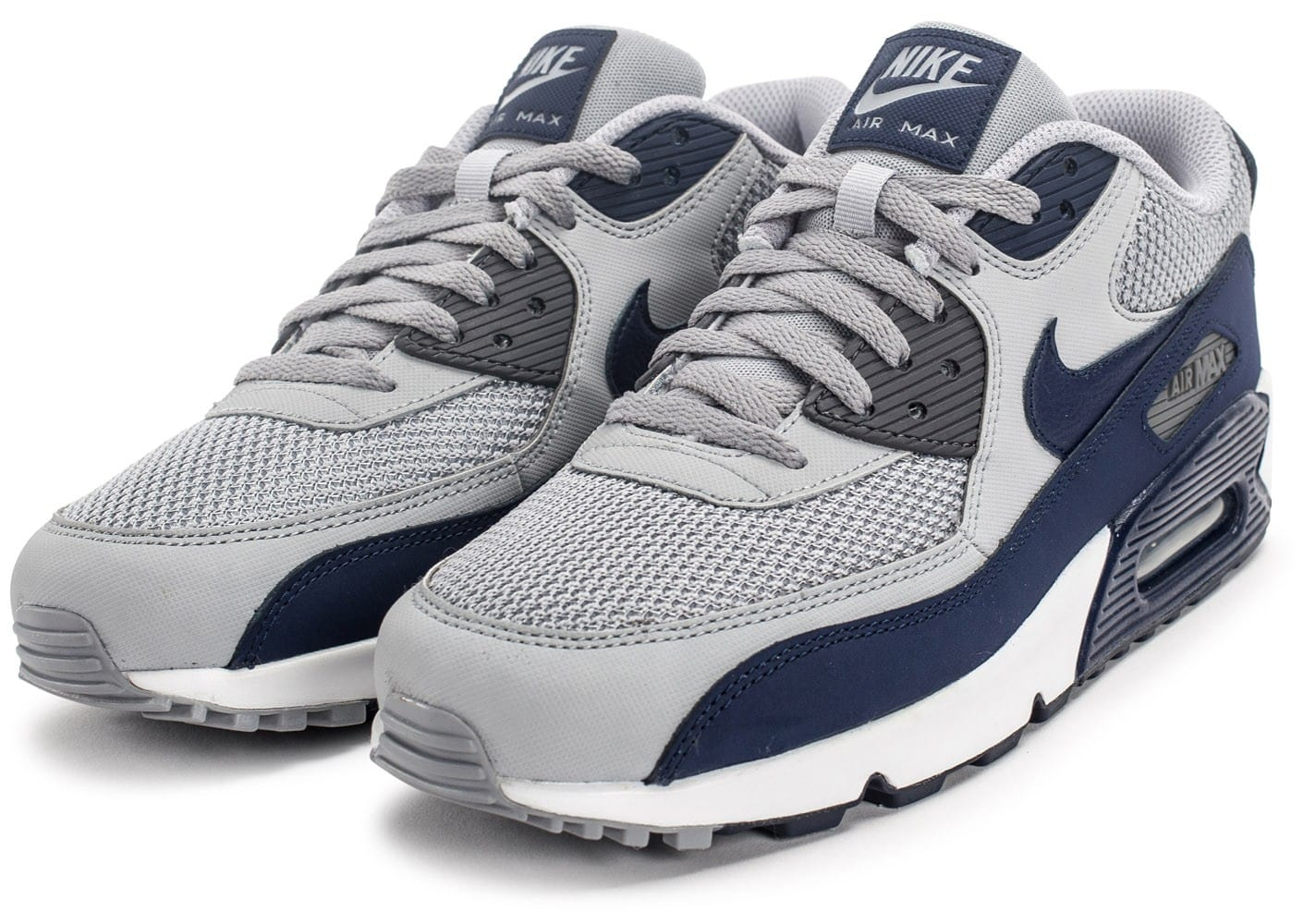 new product 5cff2 f943f ... Chaussures Nike Air Max 90 Essential grise et bleue vue intérieure ...