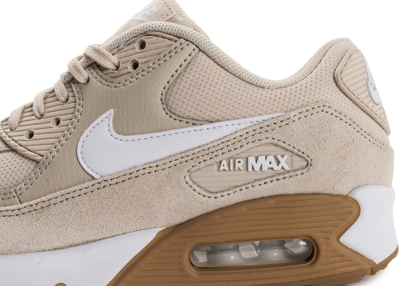 brand new 859ad e0d0c ... Chaussures Nike Air Max 90 W beige vue dessus