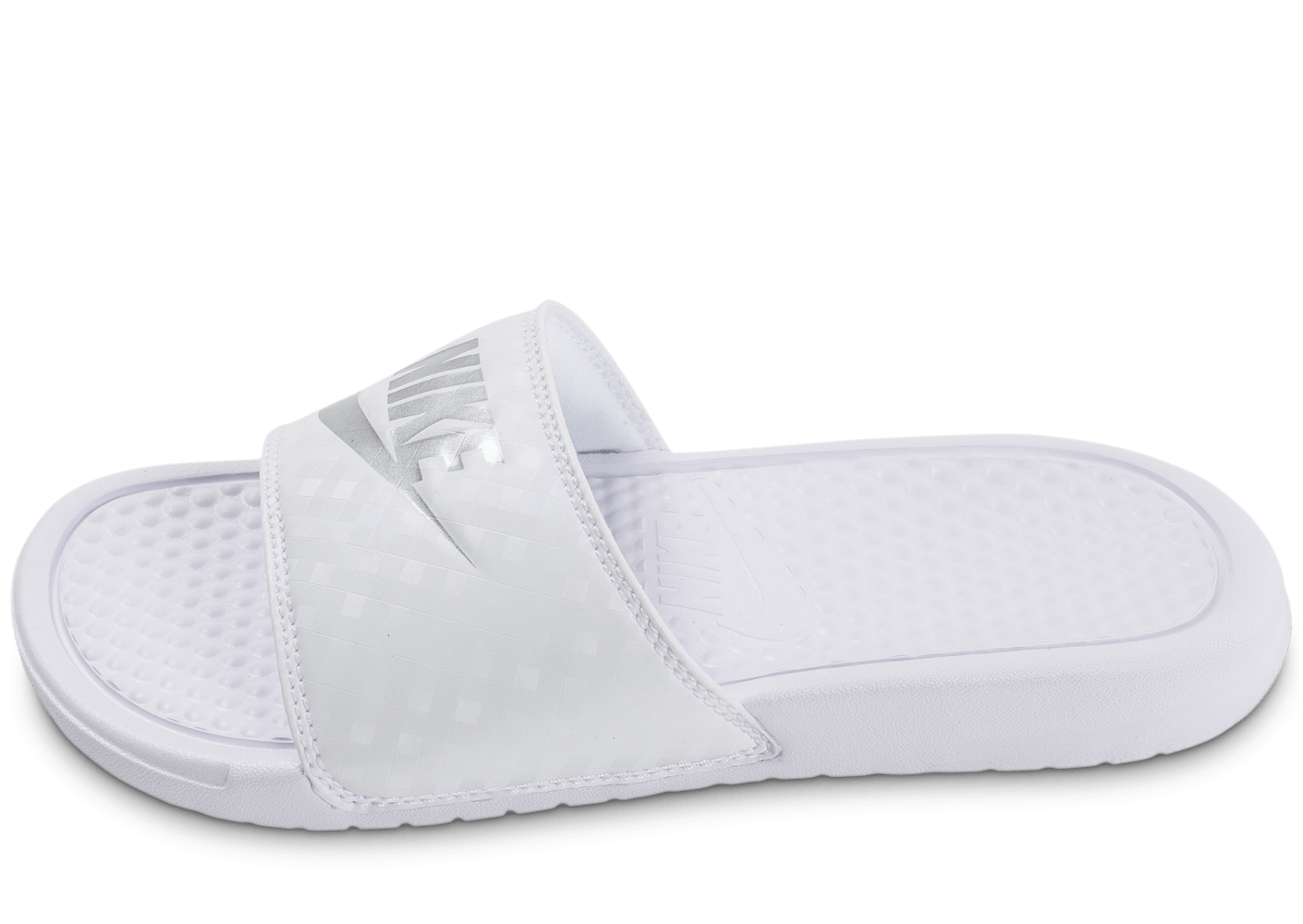 purchase cheap 06b04 ed88b Nike Benassi blanche et argent - Chaussures Chaussures - Chausport