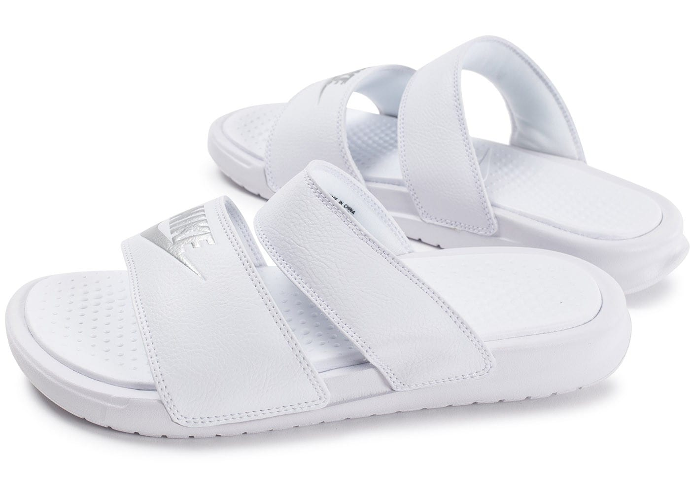 new products good looking high quality Nike Benassi Duo triple blanc - Chaussures Baskets femme ...
